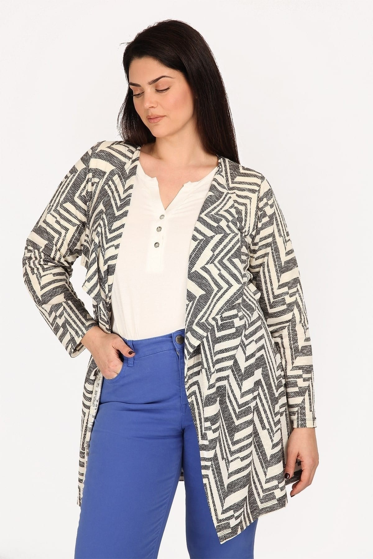 Cotton longline cardigan in geometrical print