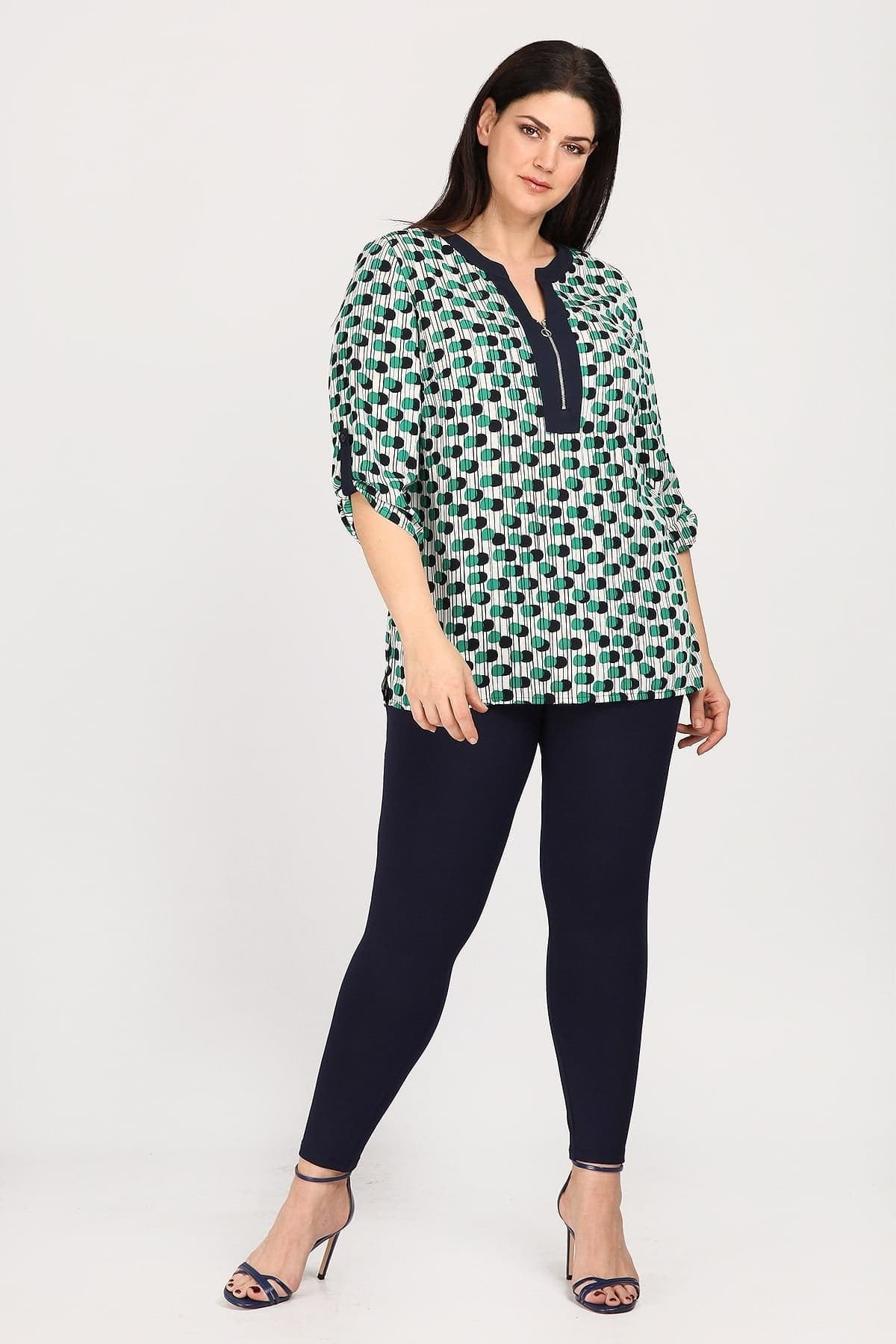 Printed blouse with zip on the neckline