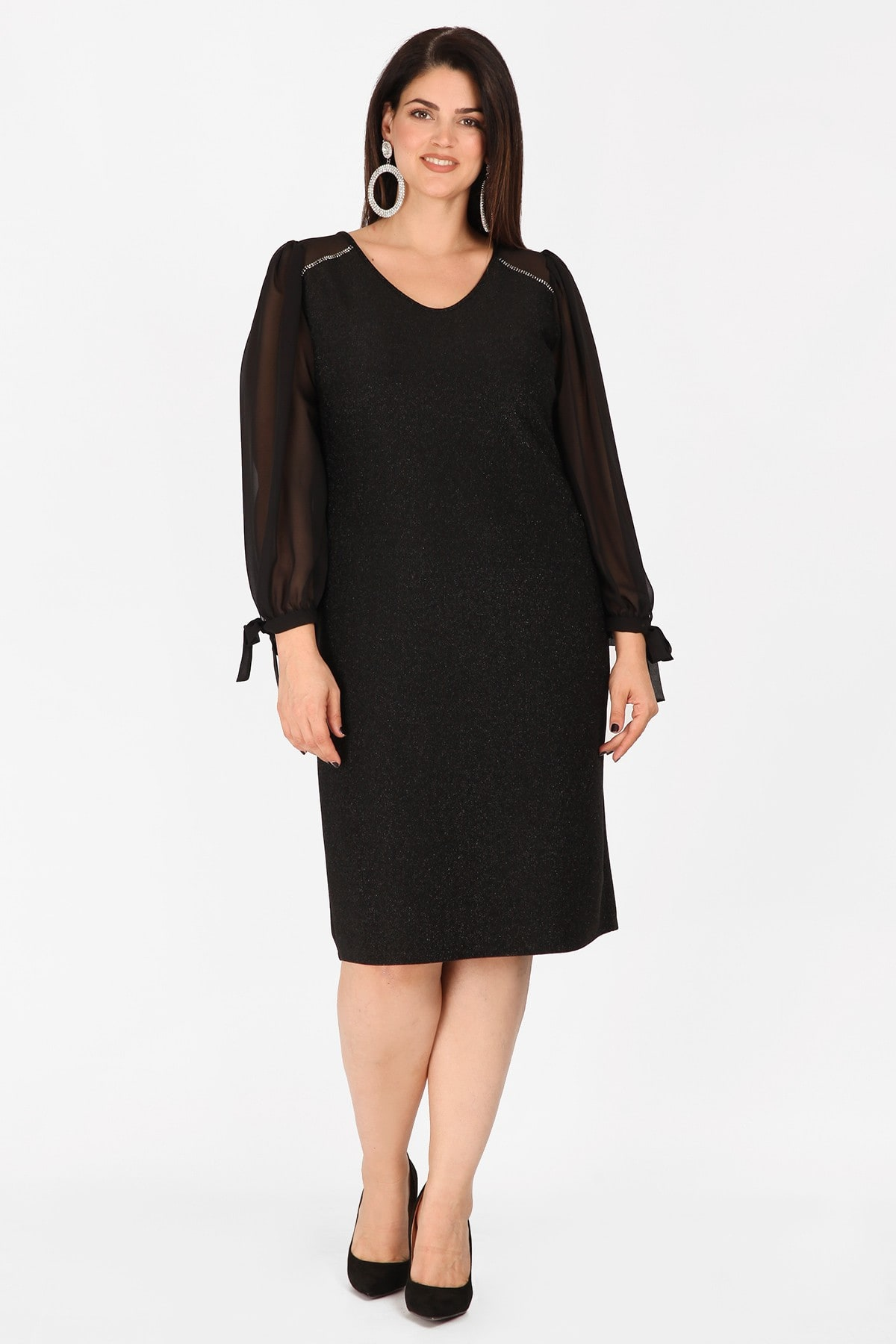 Midi lurex dress with strass and georgette details