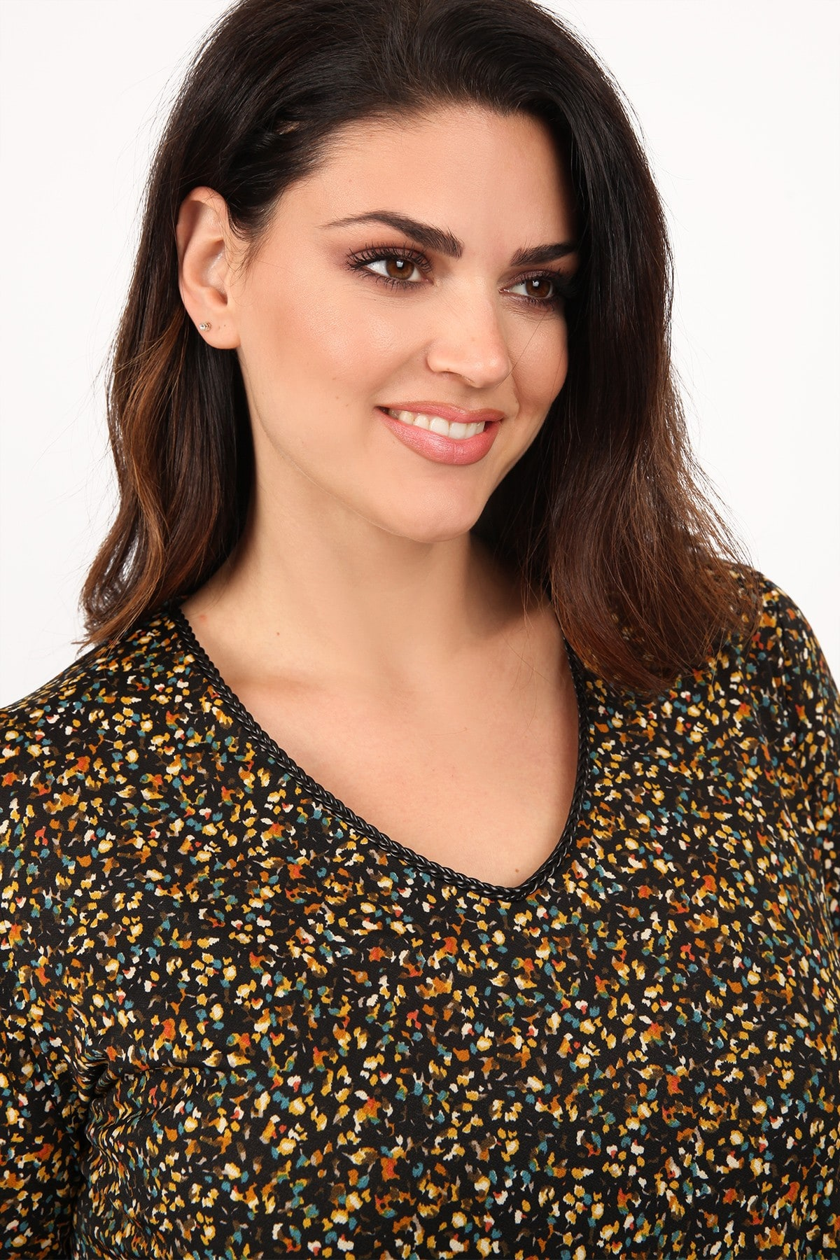 Printed blouse with V-neckline