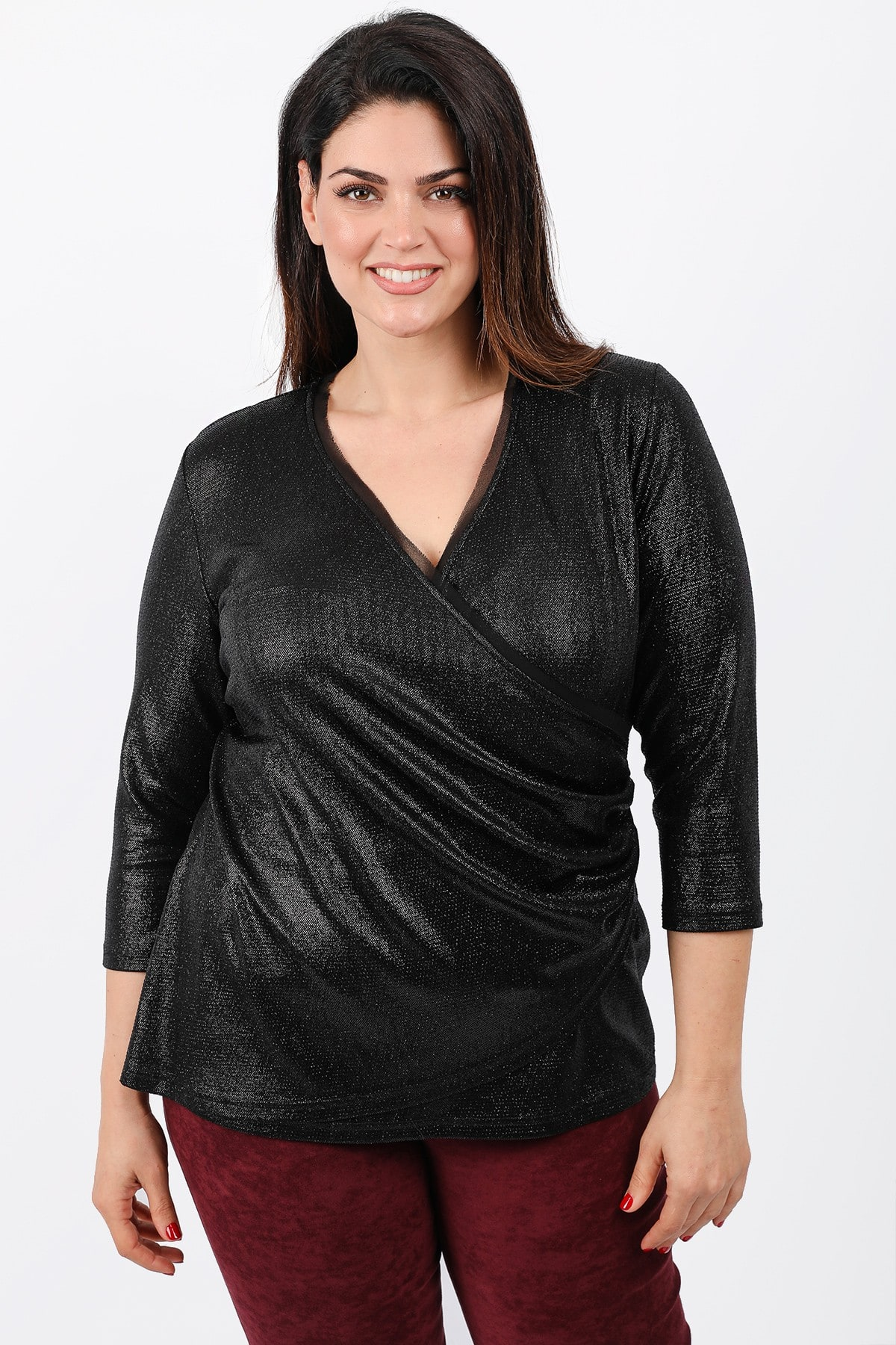 Evening wrap blouse with strass and lurex