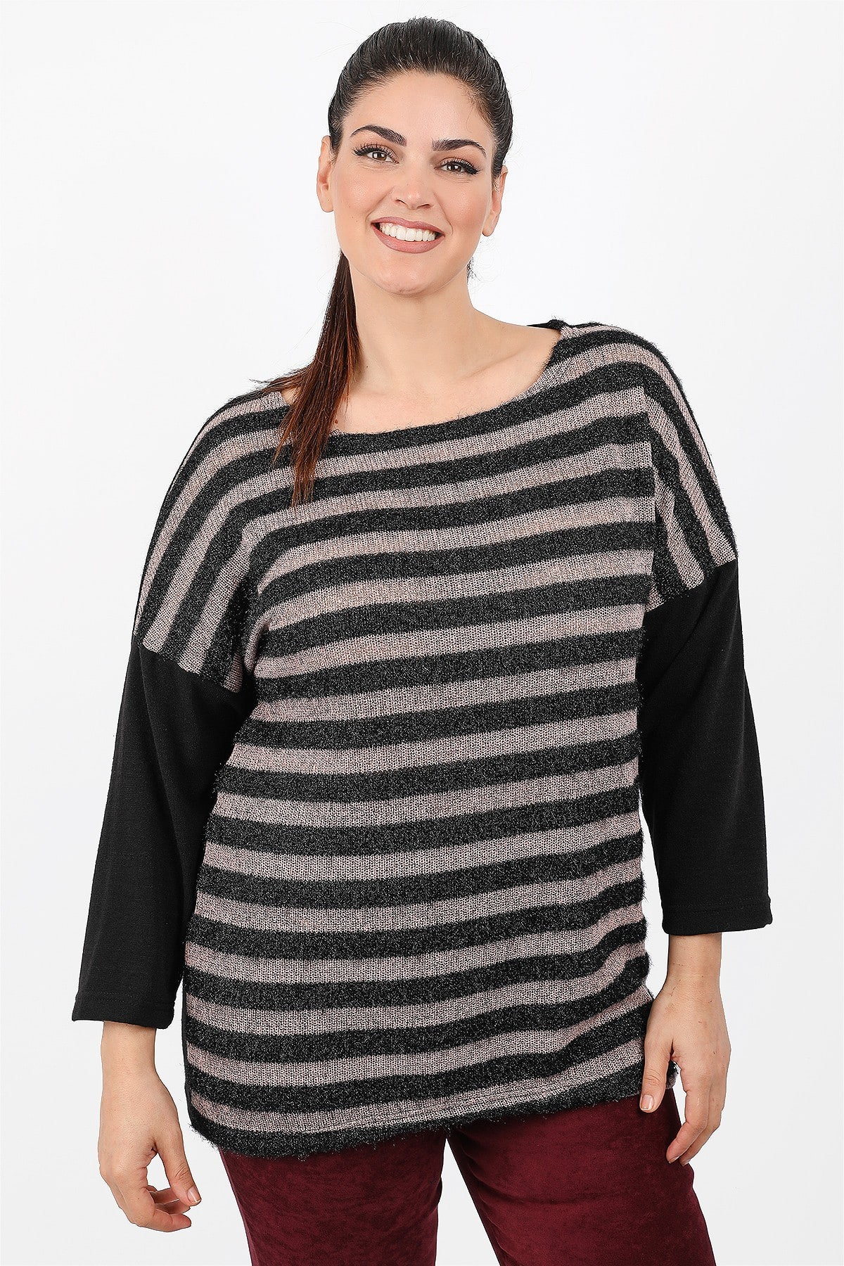 Stripe lurex knit blouse