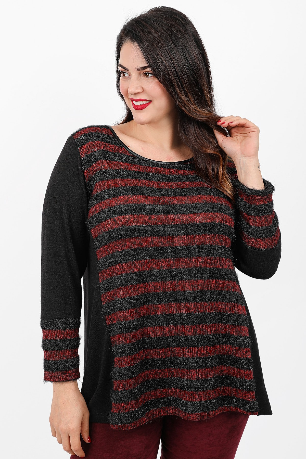 Stripe knit lurex blouse