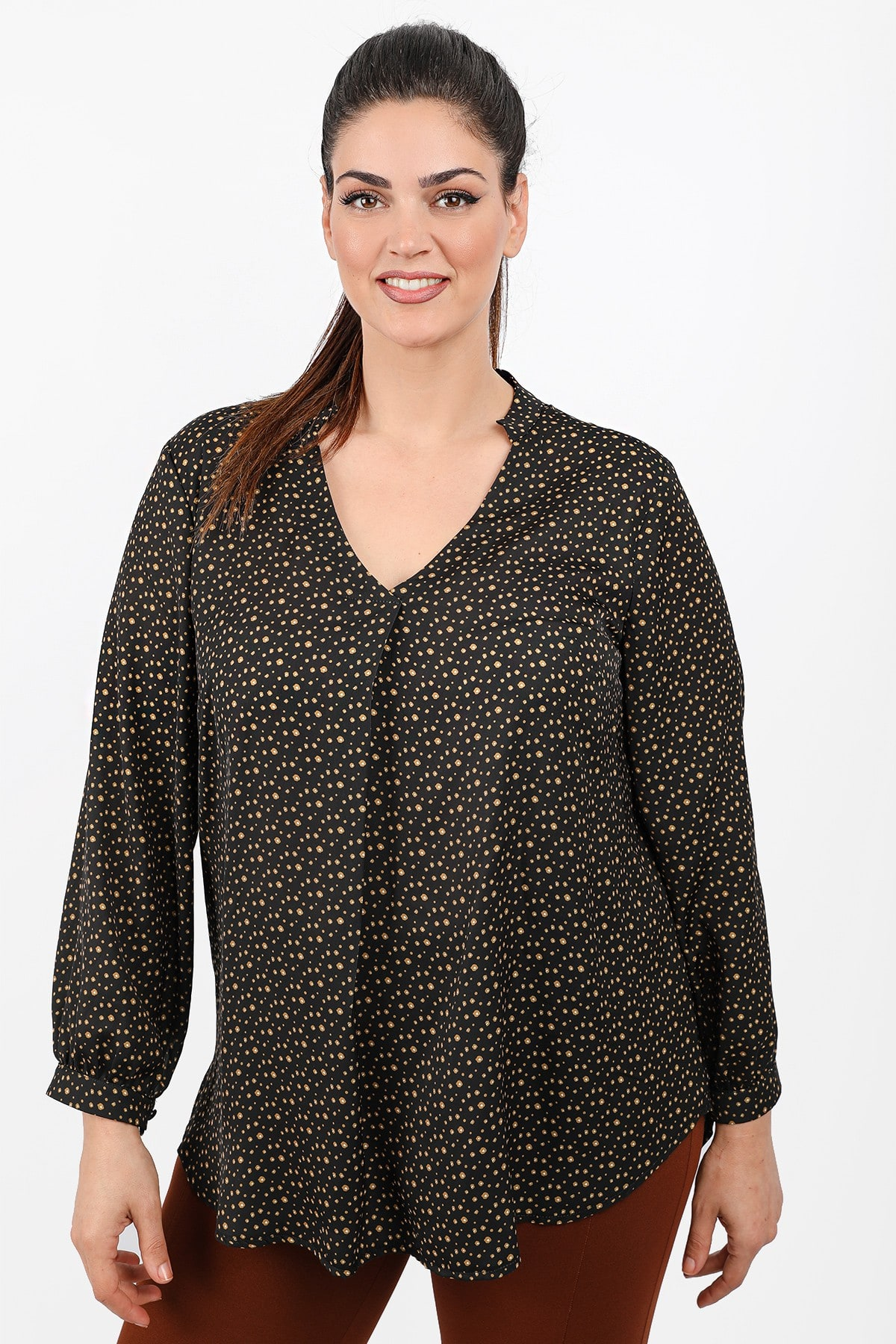 Printed shirtblouse with mao neck