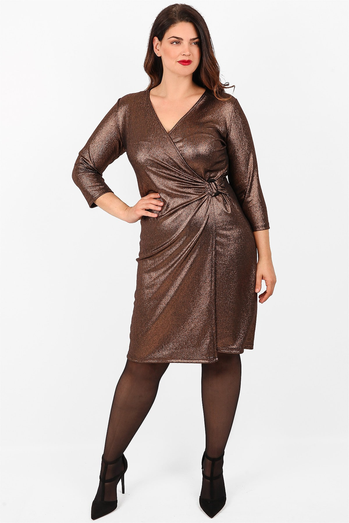 Wrap foil with metallic view midi dress