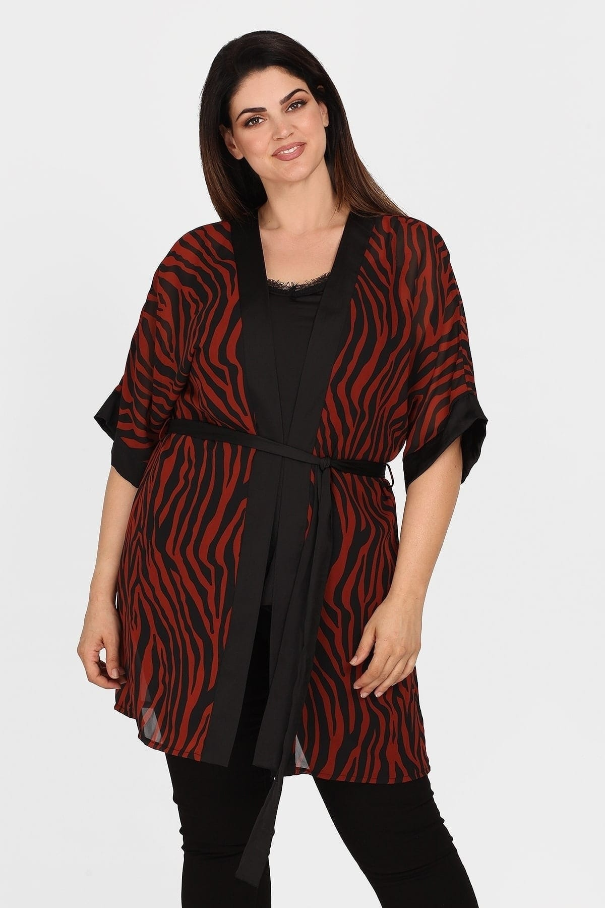 Zebra twin set evening kimono  top