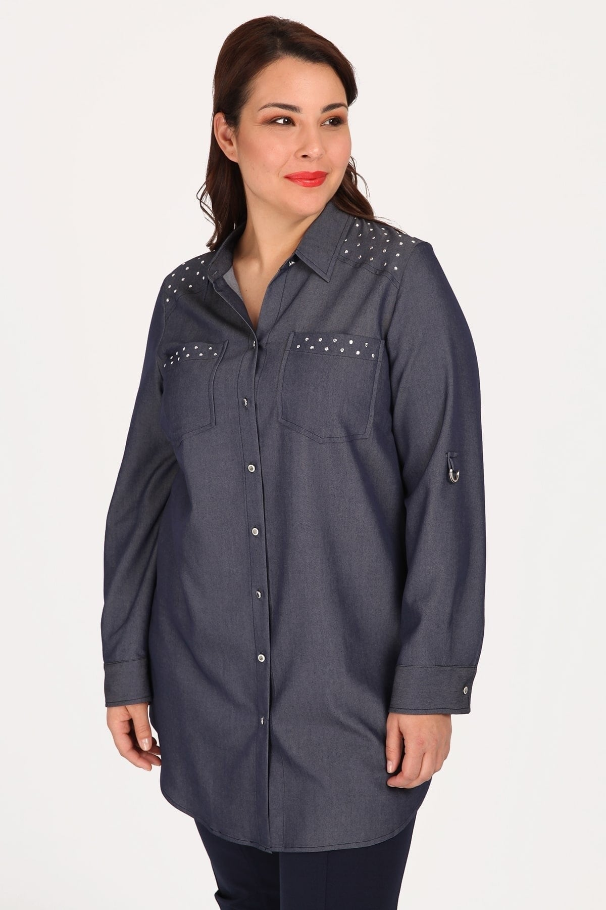 Denim shirt with studs