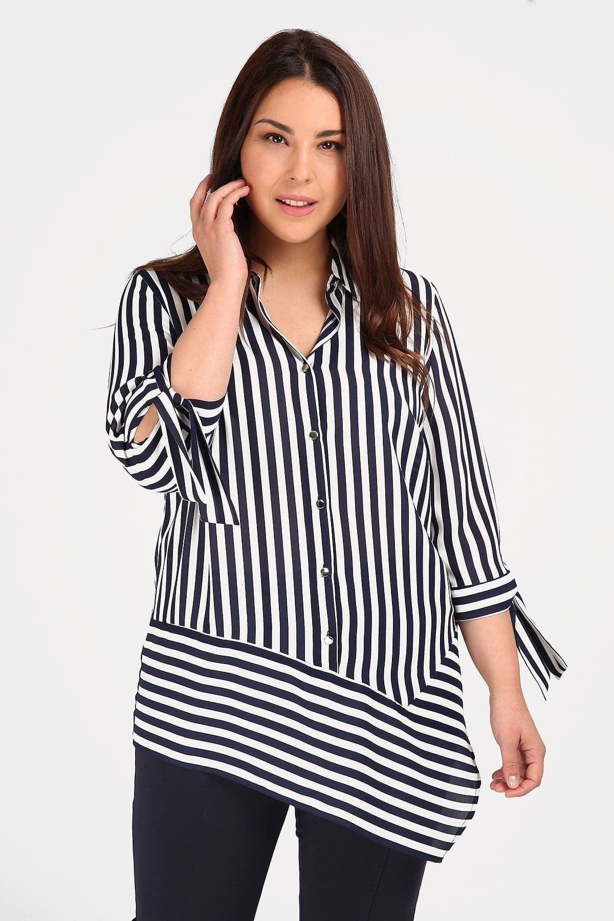 Asymetric striped shirt