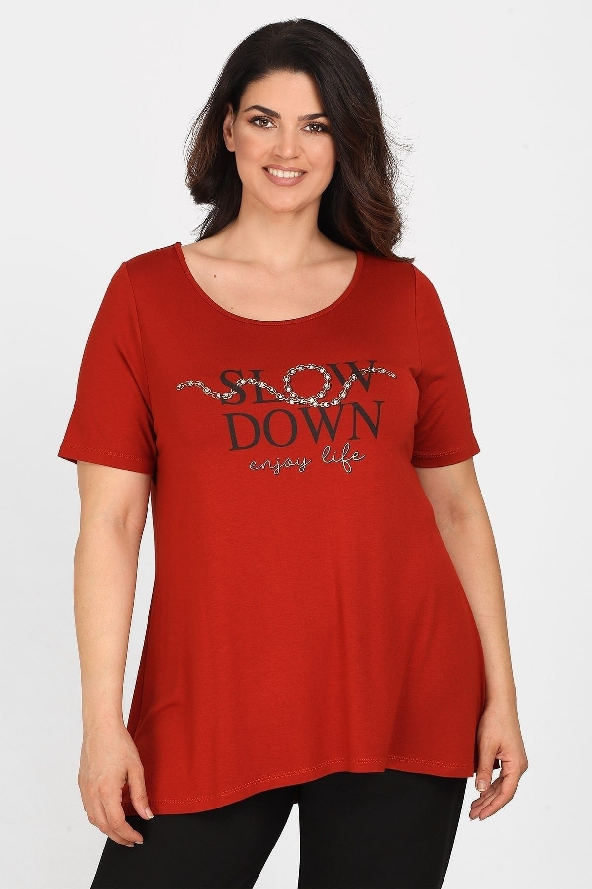 Blouse SLOW DOWN with cuts on the back