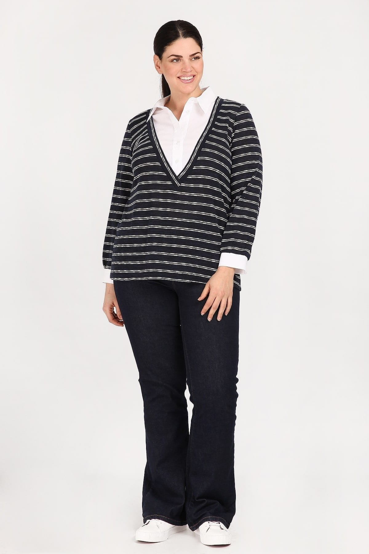 Knit striped blouse with shirt details