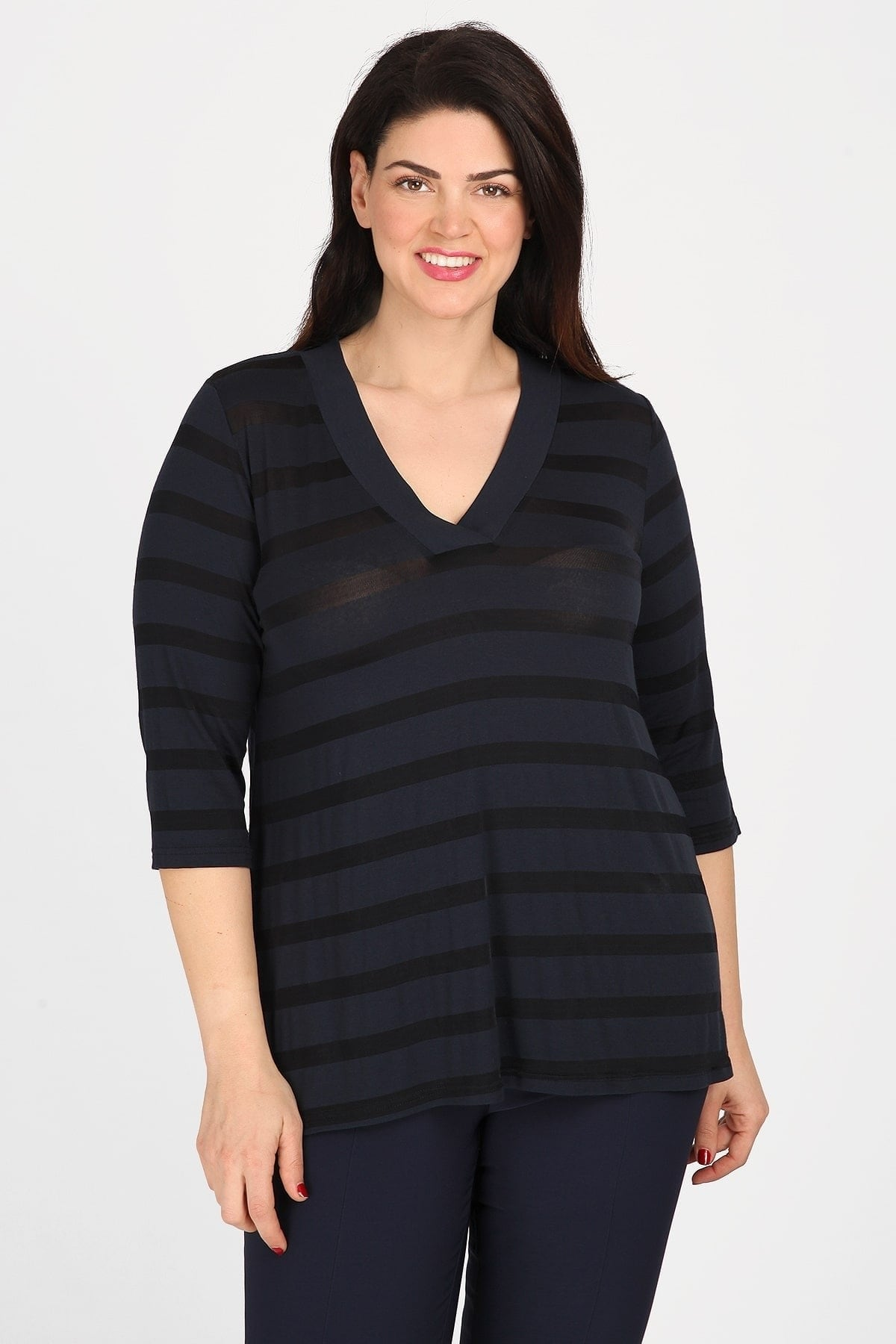 Striped blouse with V-neckline