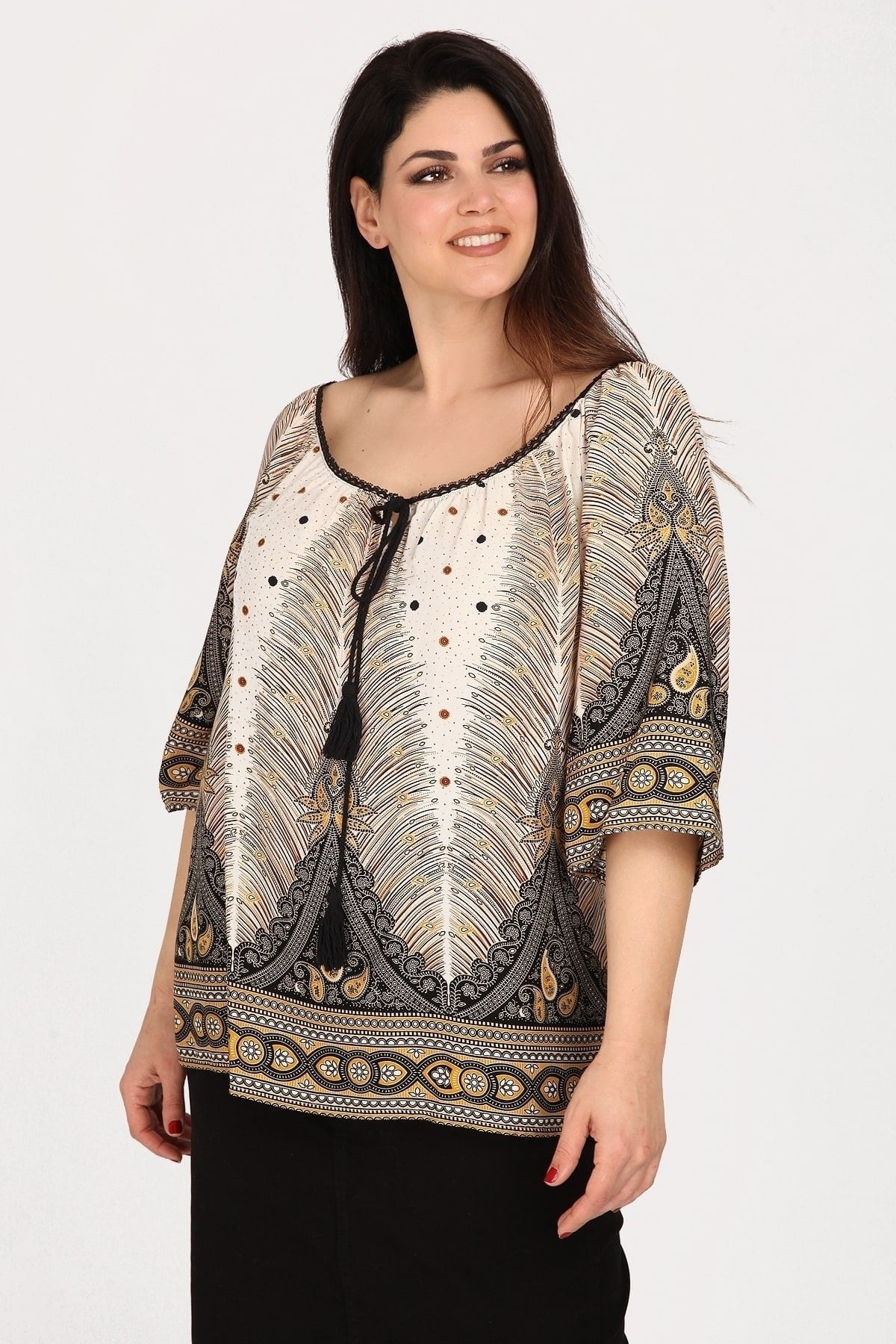 Printed off-shoulder blouse with frill hem