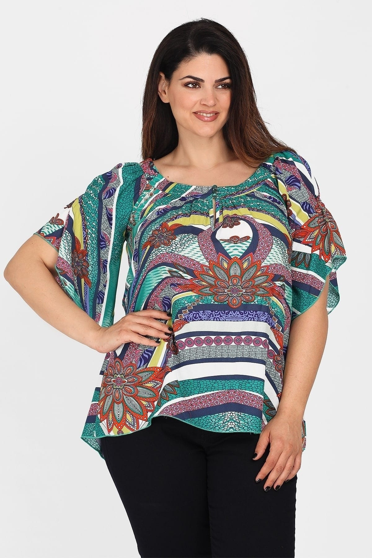 Printed blouse with elasticated neckline and buttons