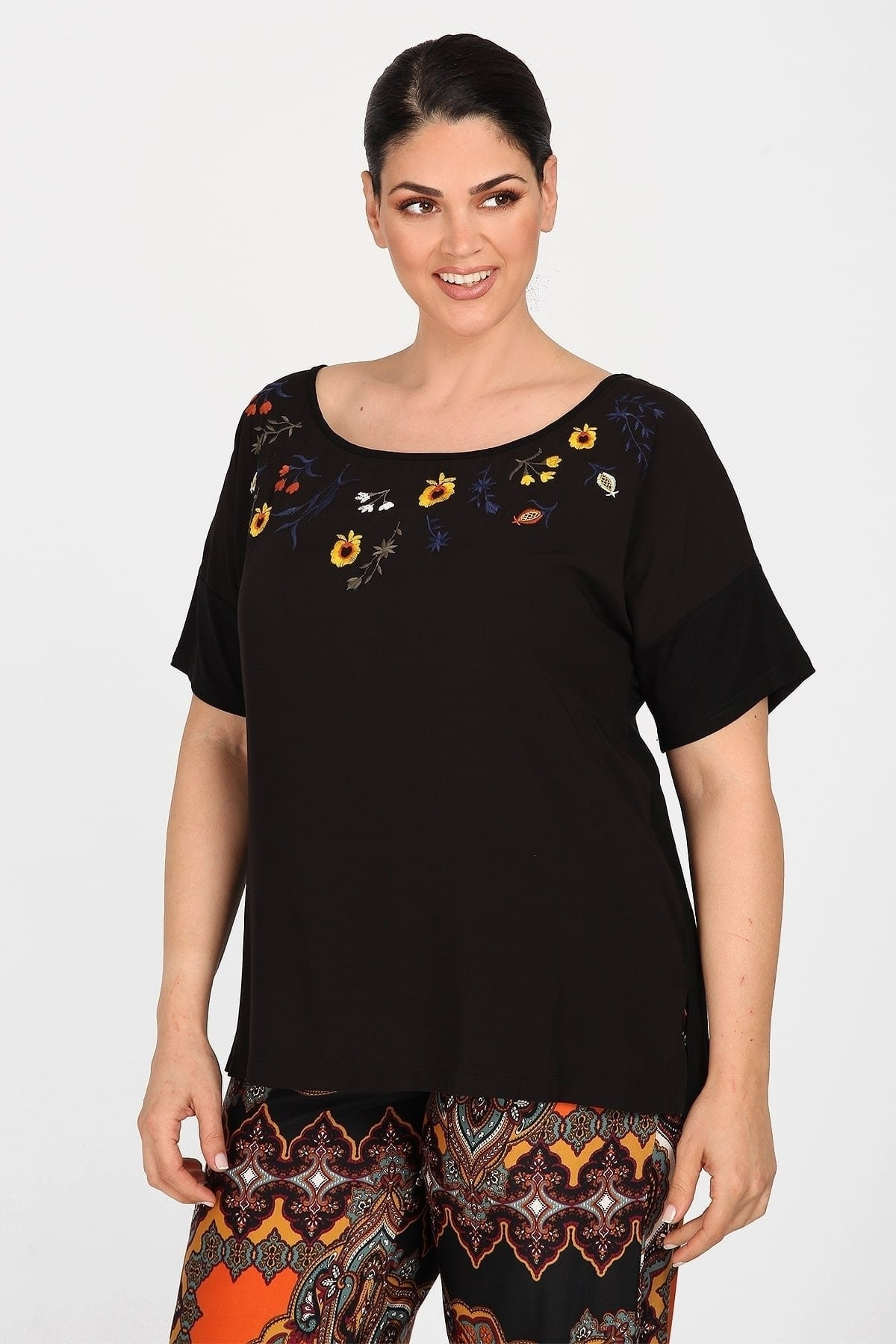 Top with embroidery flowers