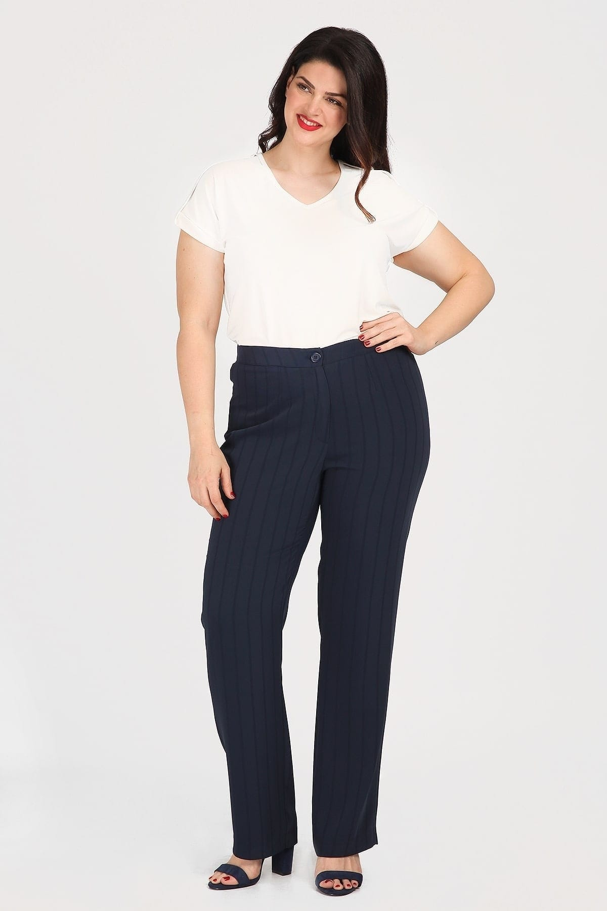 Satin embossed trousers