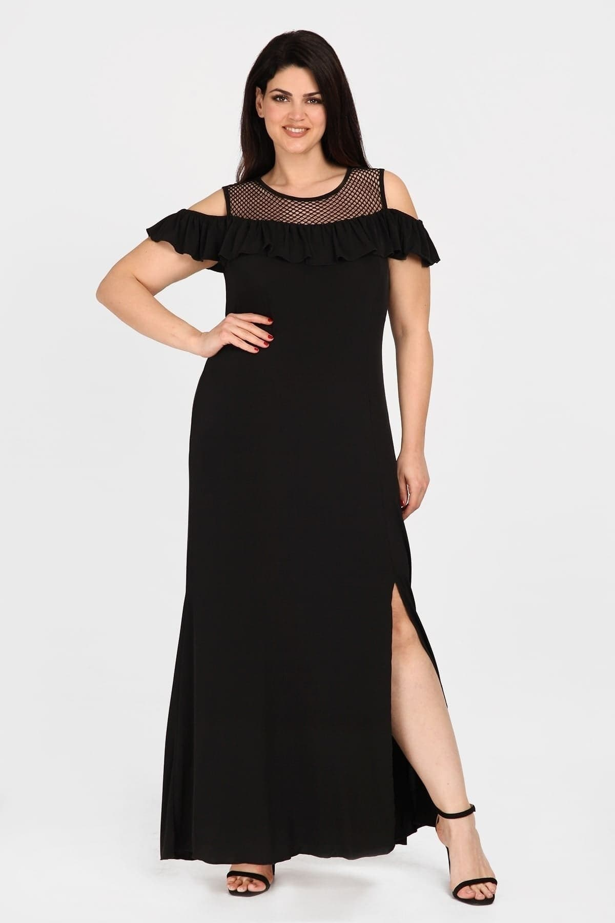 Maxi viscose cold-shoulder dress with perforated details