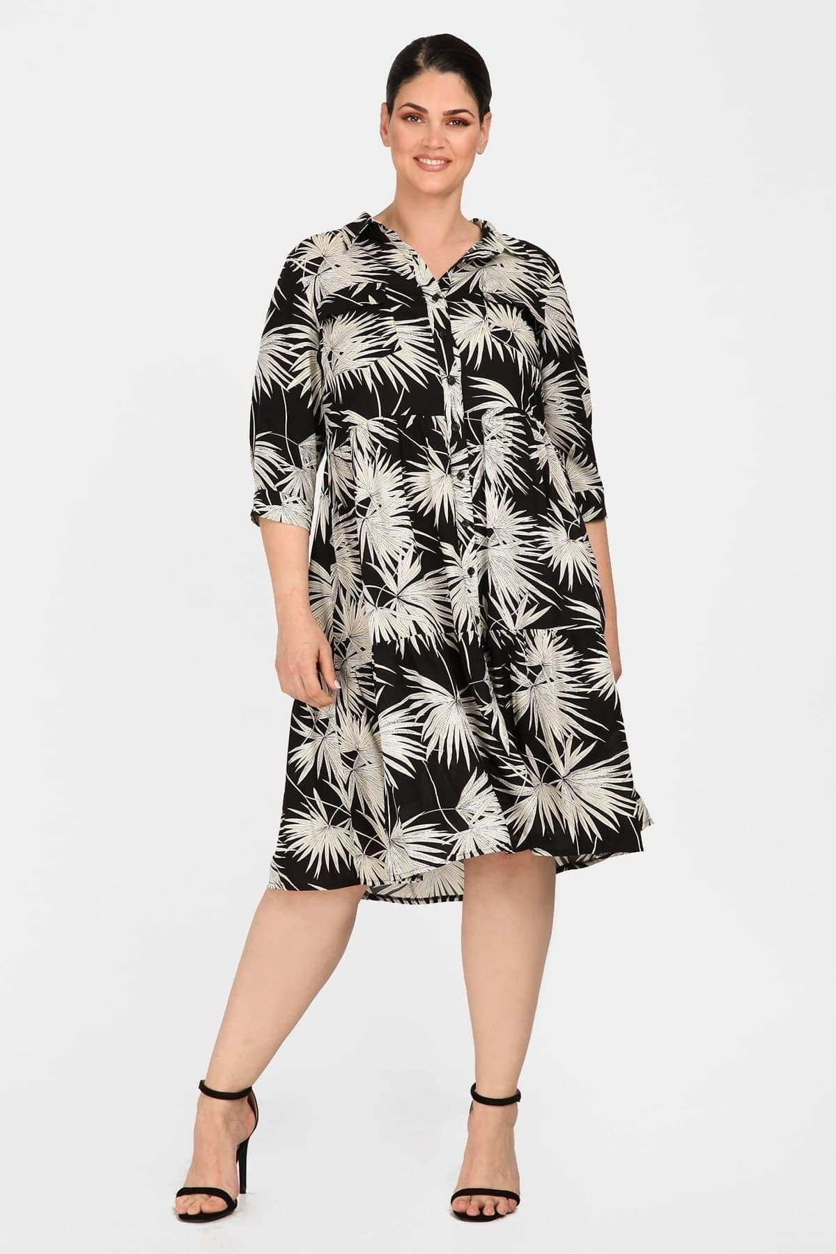 Ethnic midi empire shirt dress