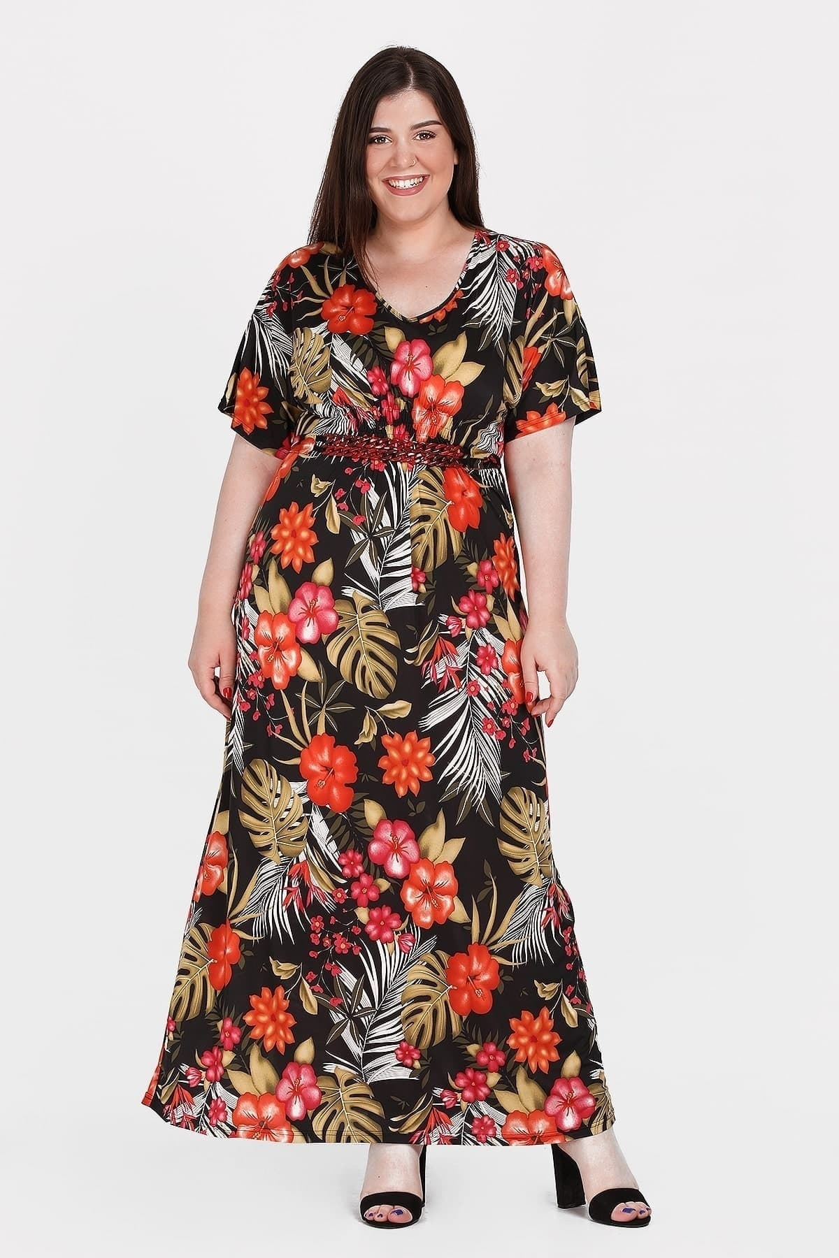 Maxi tropical dress with chain belt