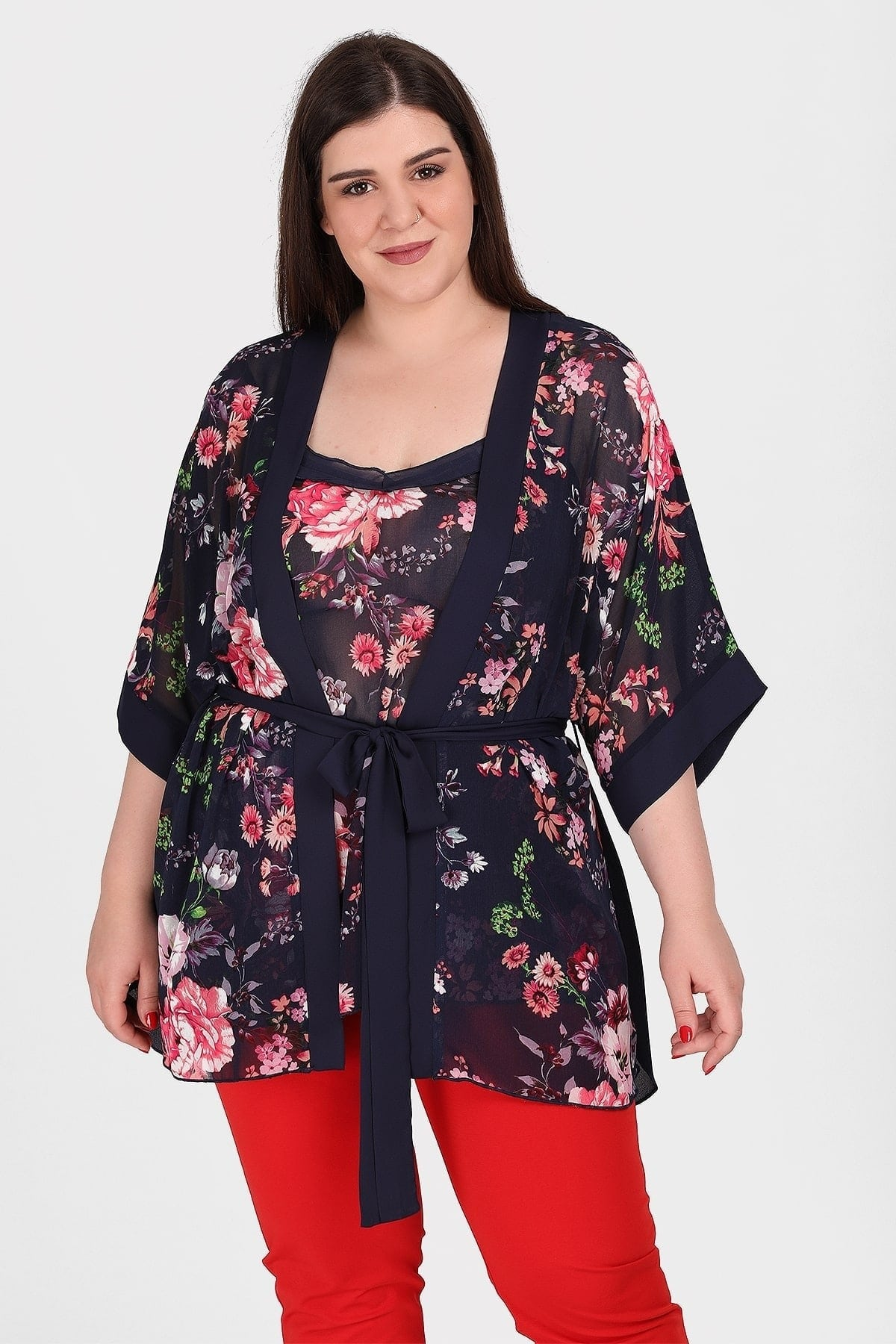 Formal set of kimono and top in floral print
