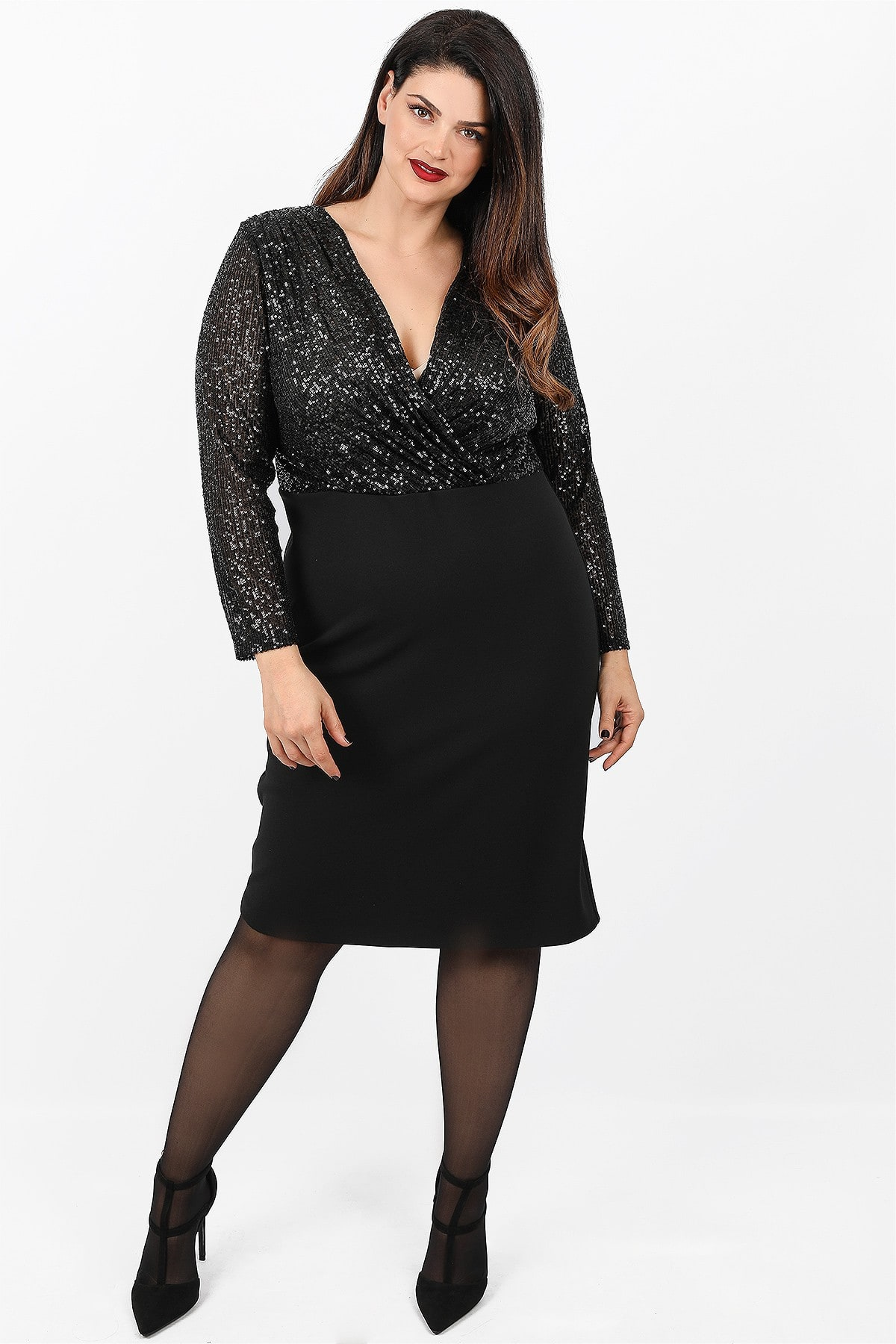 Midi wrap dress with sequins