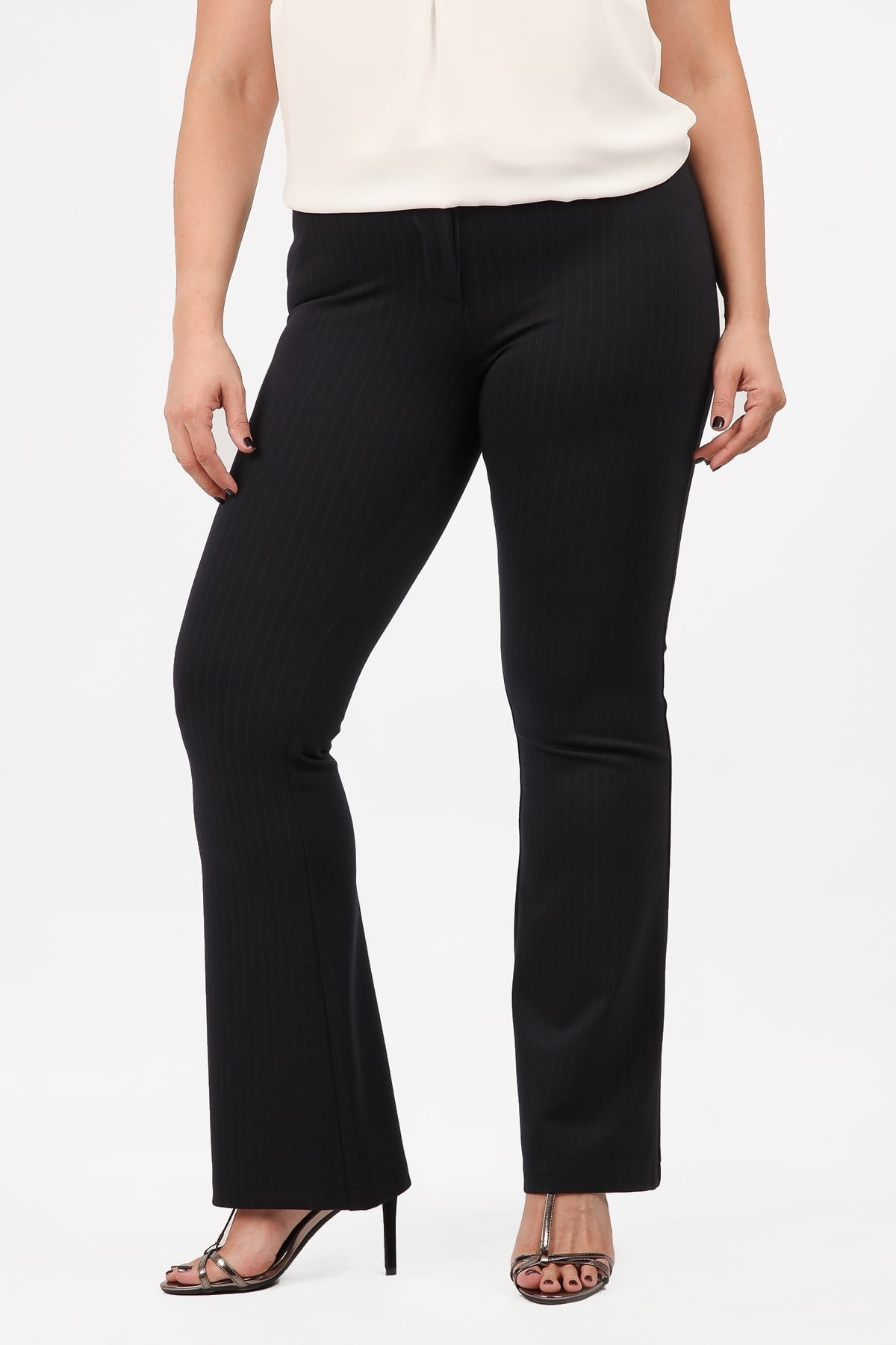 Striped bell elastic trousers