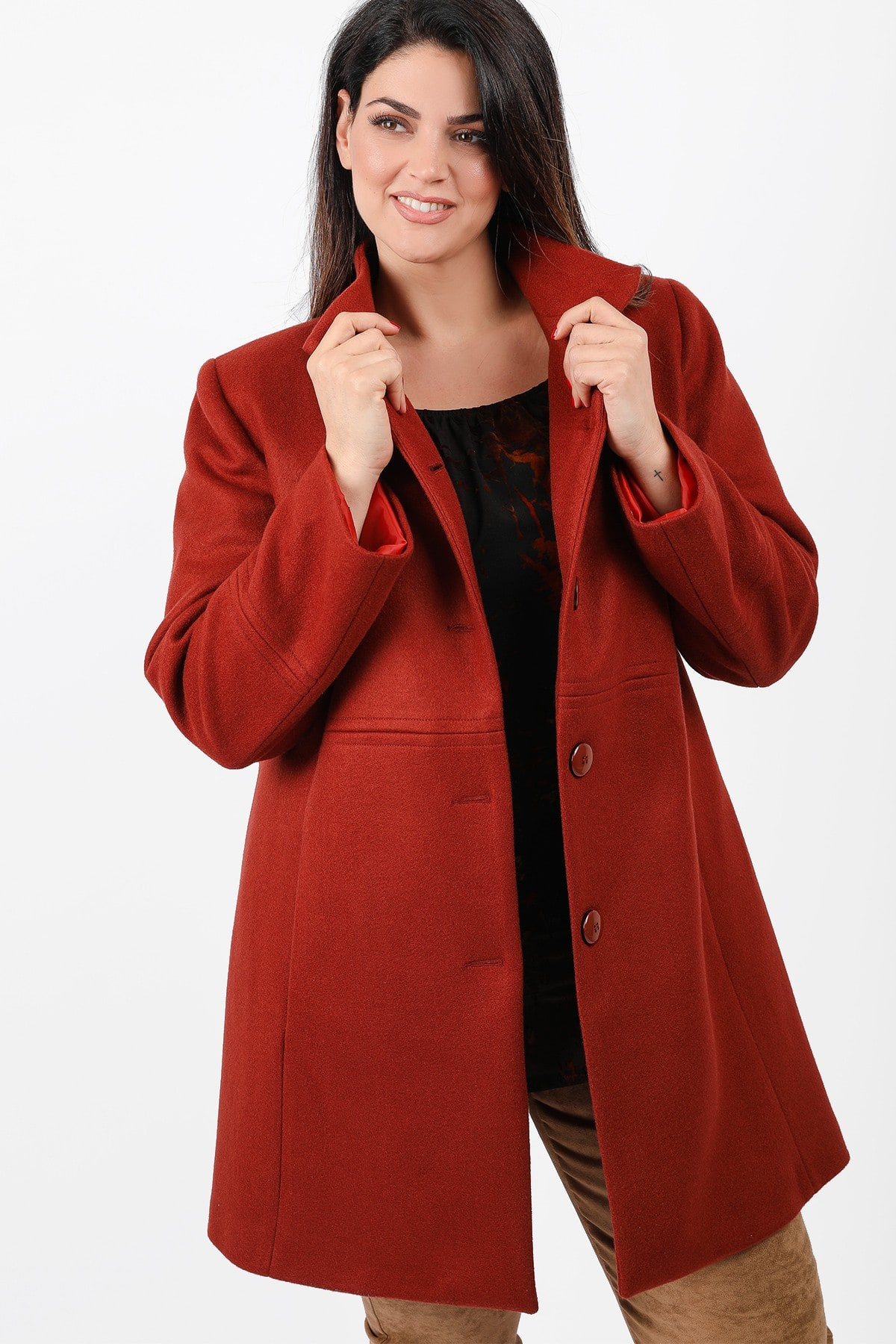 Coat with high neck colar