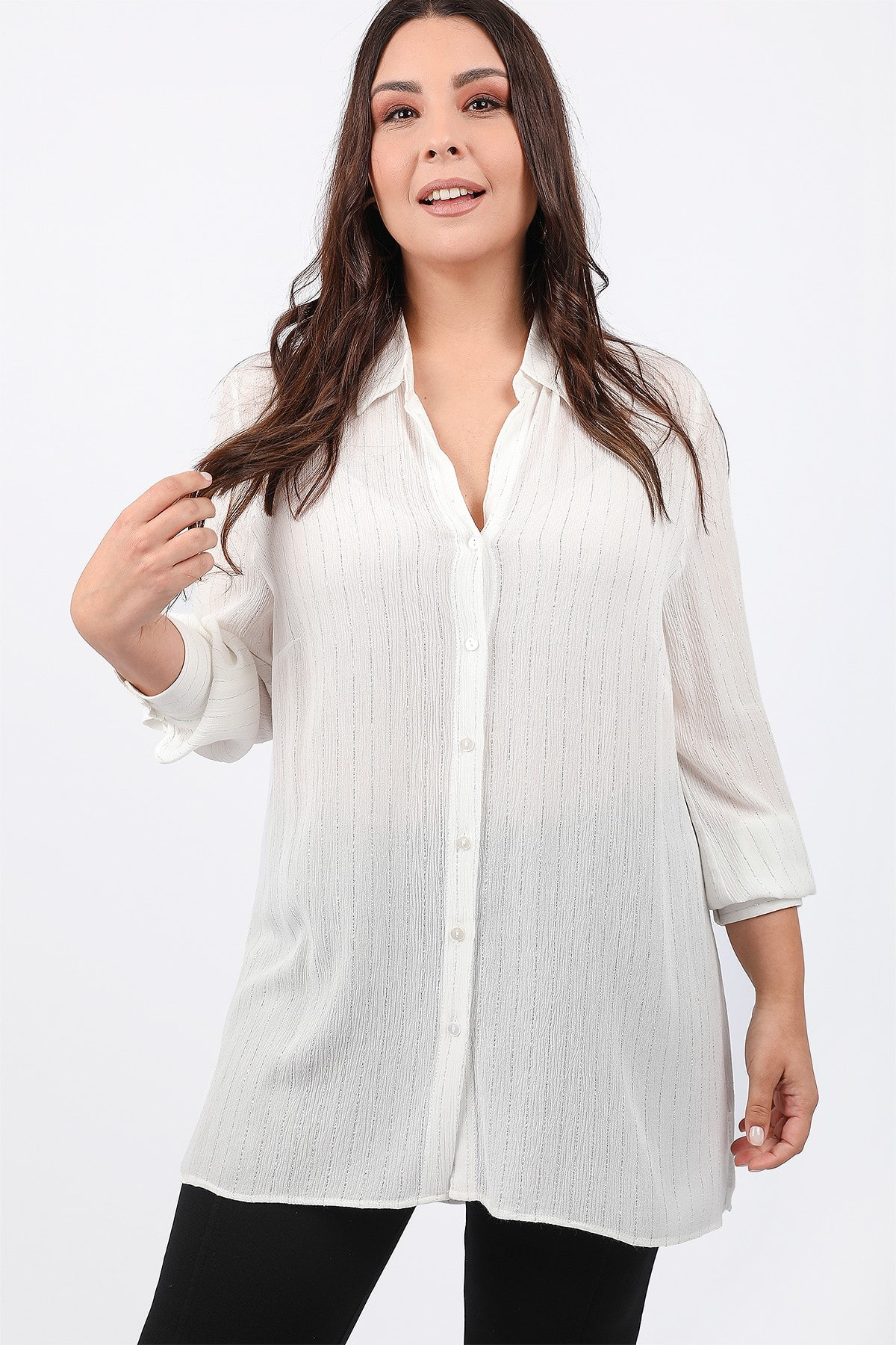 Shirt with lurex stripes
