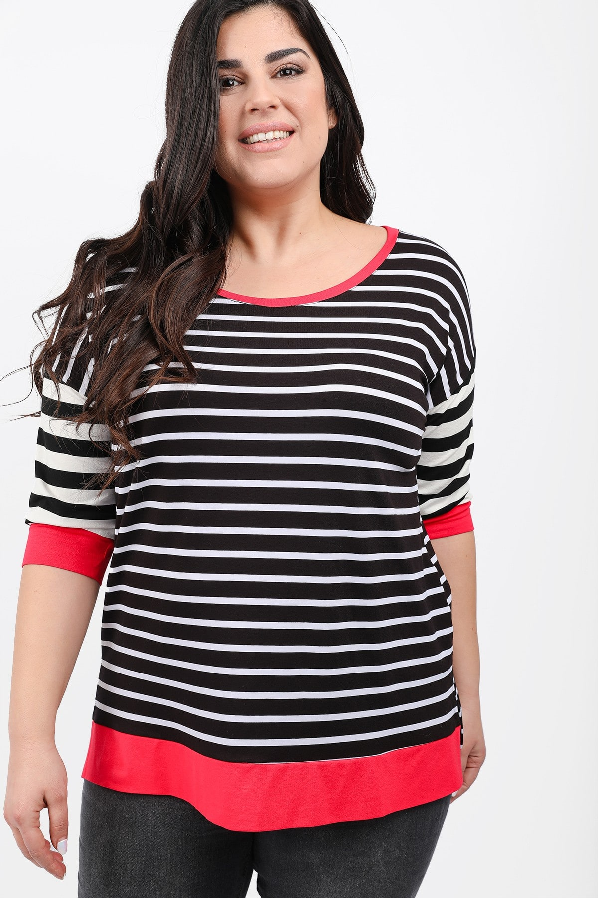 Striped elastic blouse