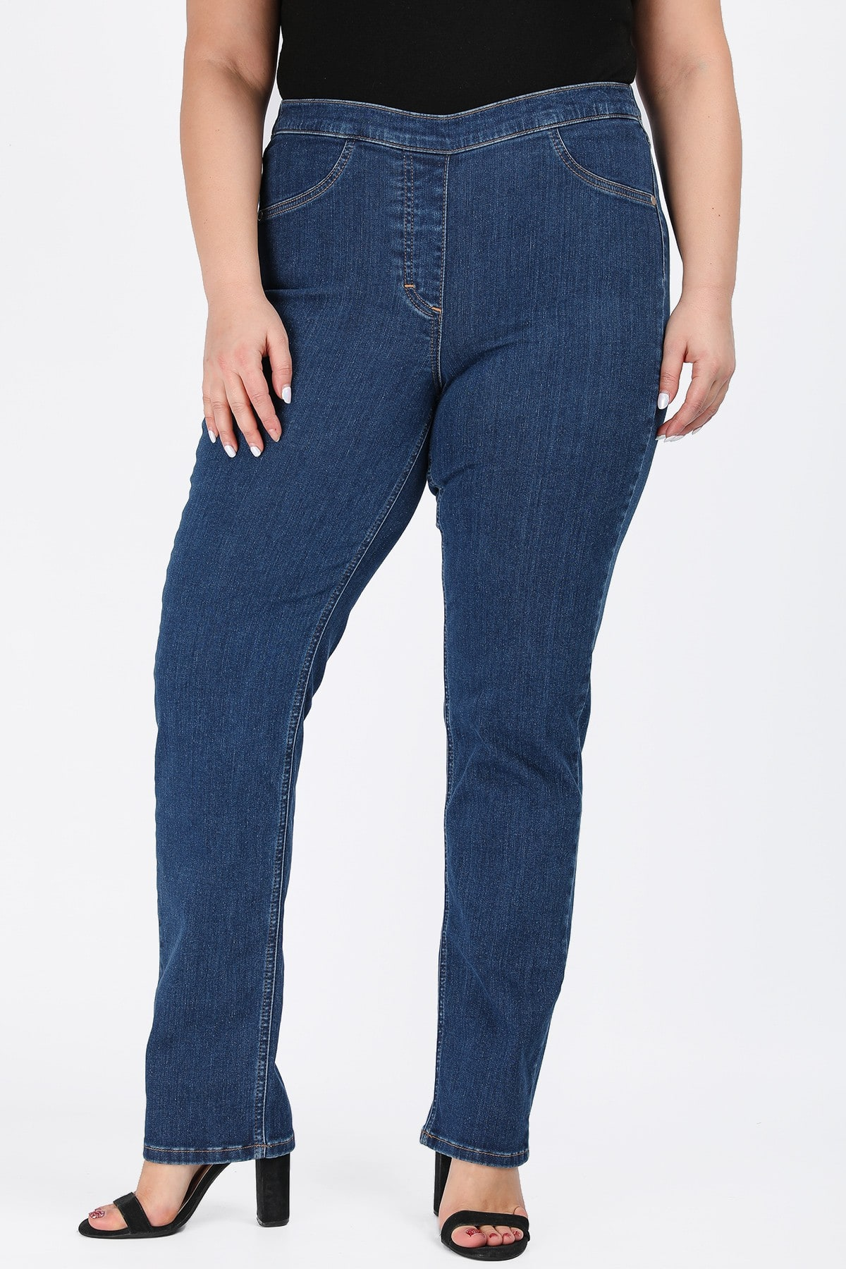 Jeggings rinse with elastic waist
