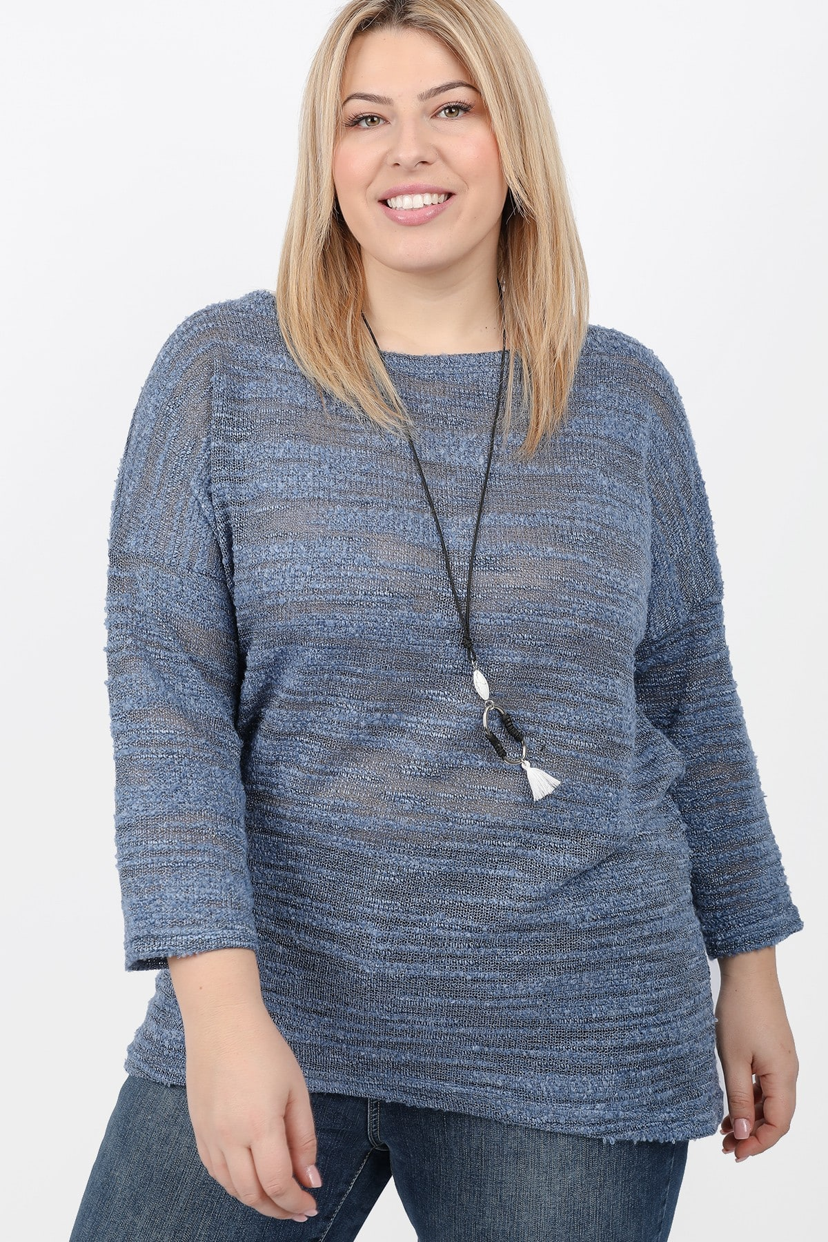 Melange knit blouse with a pendant