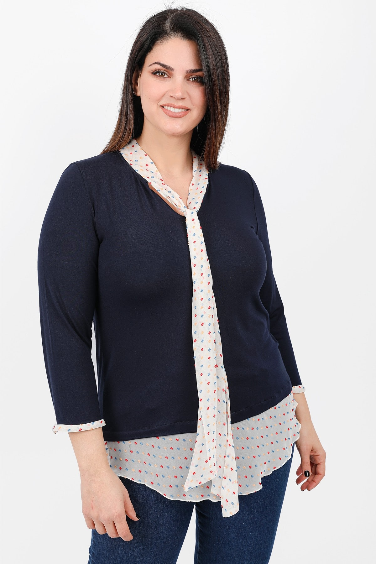 Blouse with printed shirt details