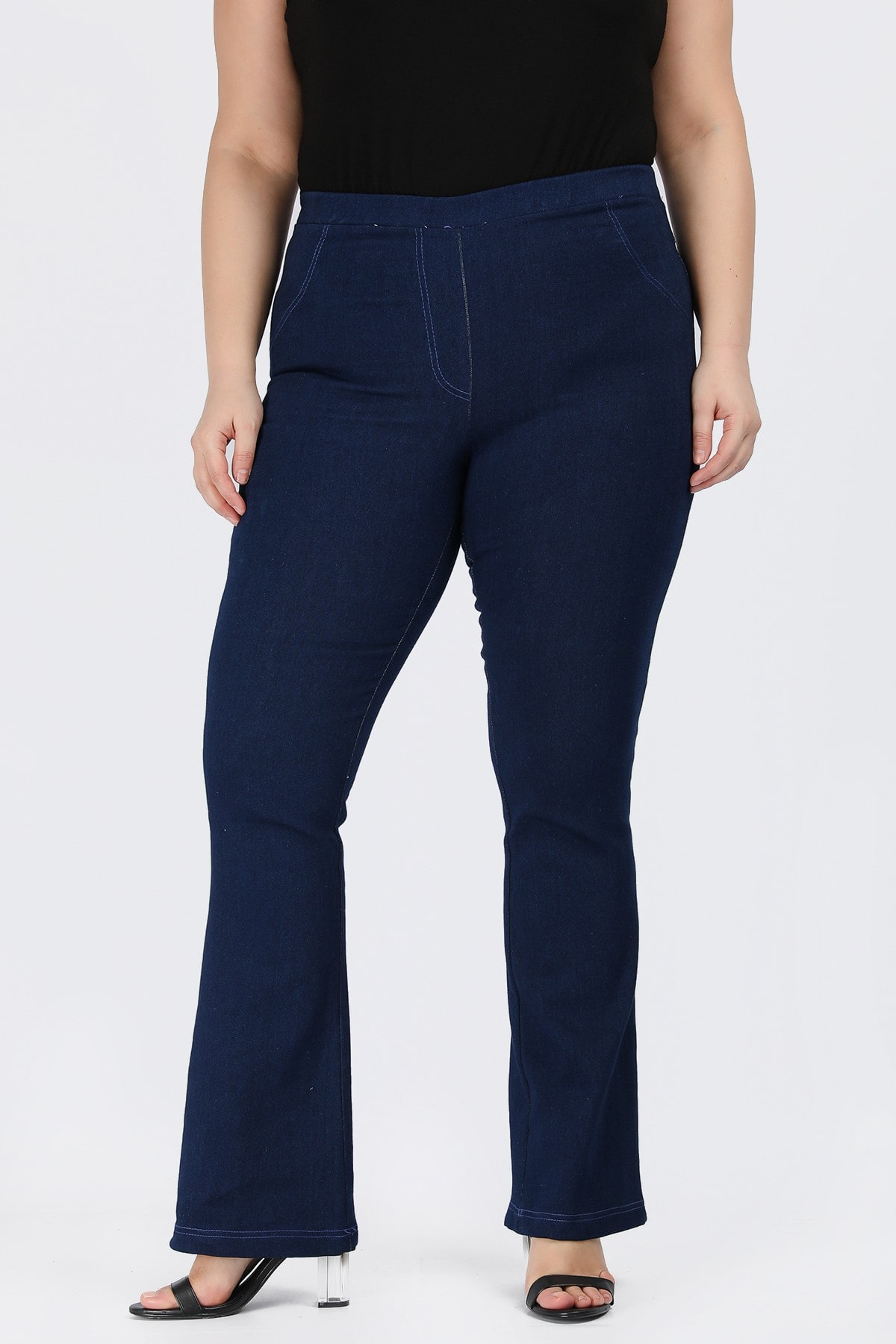 Bell jeggings rinse with elastic waist