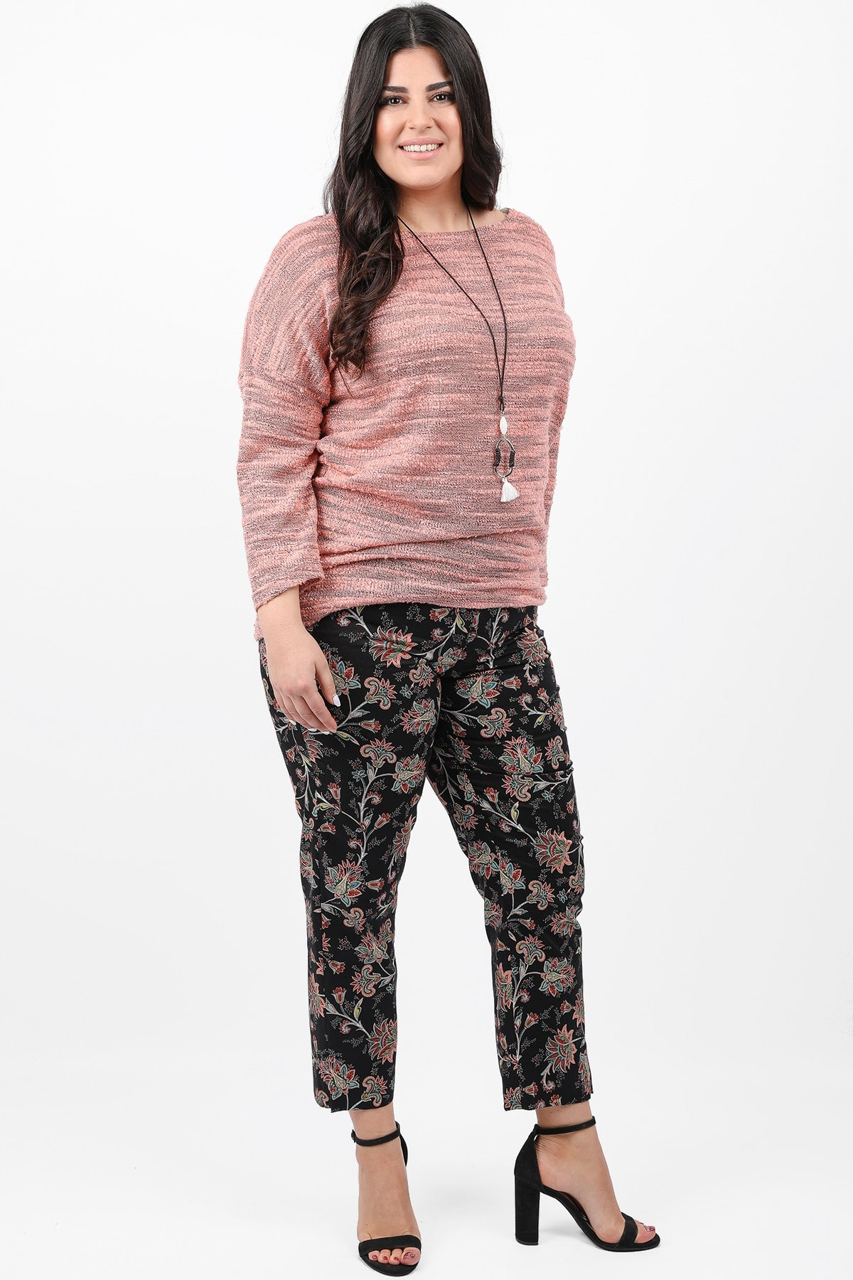 Floral gabardine trousers