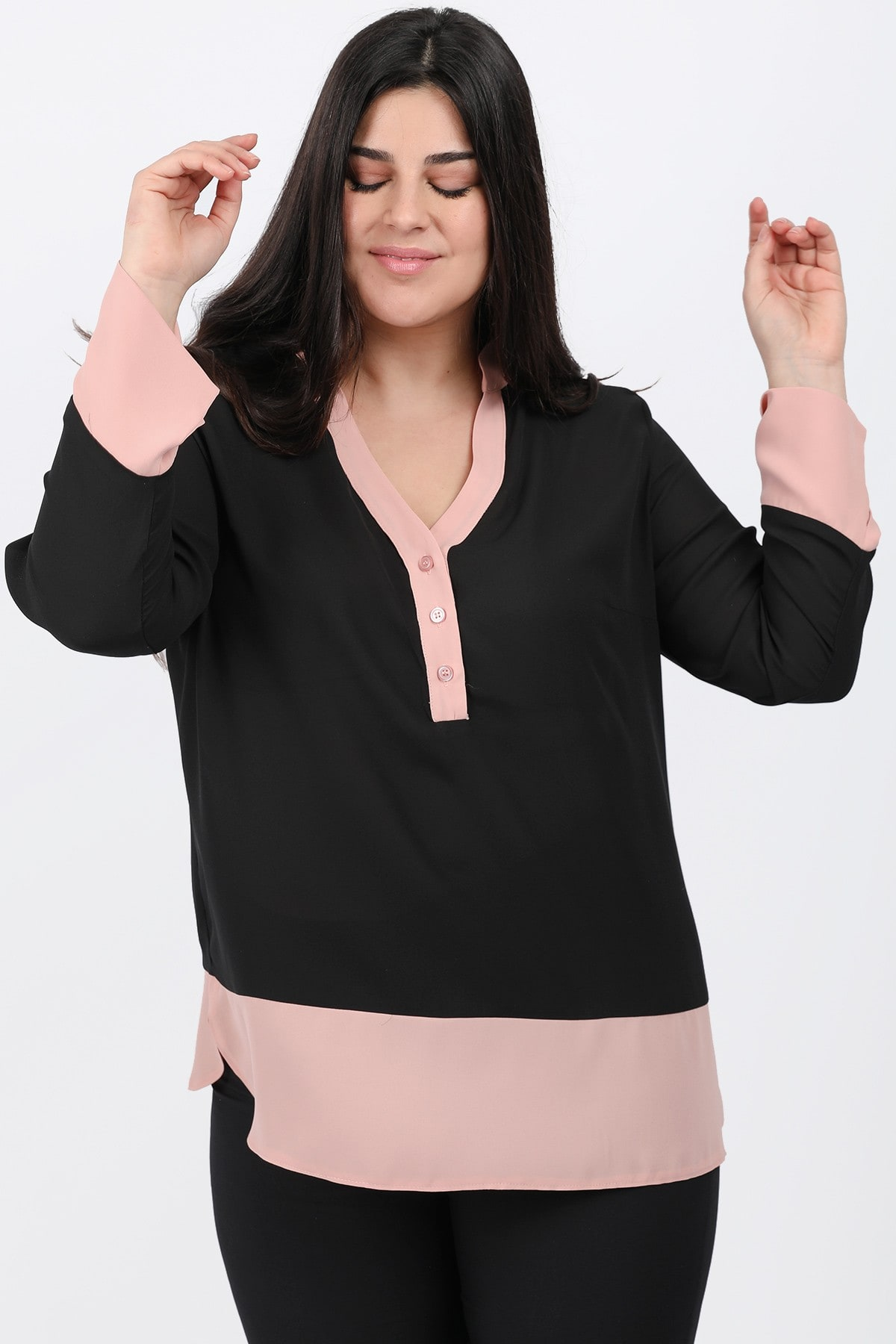 Blouse with shirt and buttons on the V