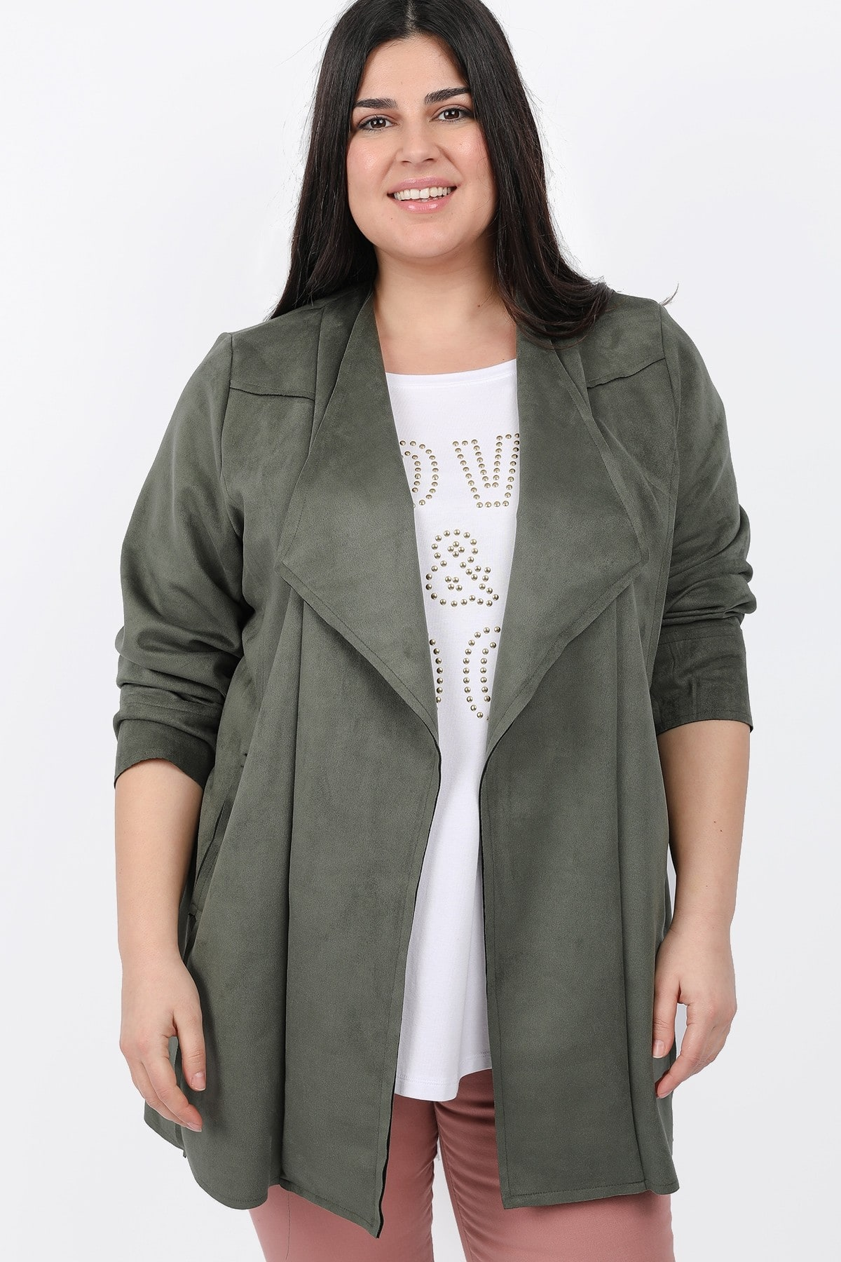 Suede draped cardigan