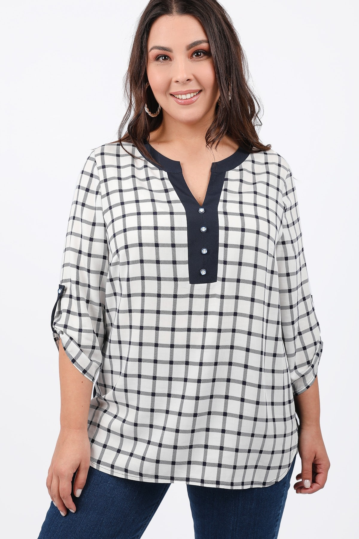 Plaid shirtblouse with buttons stripe