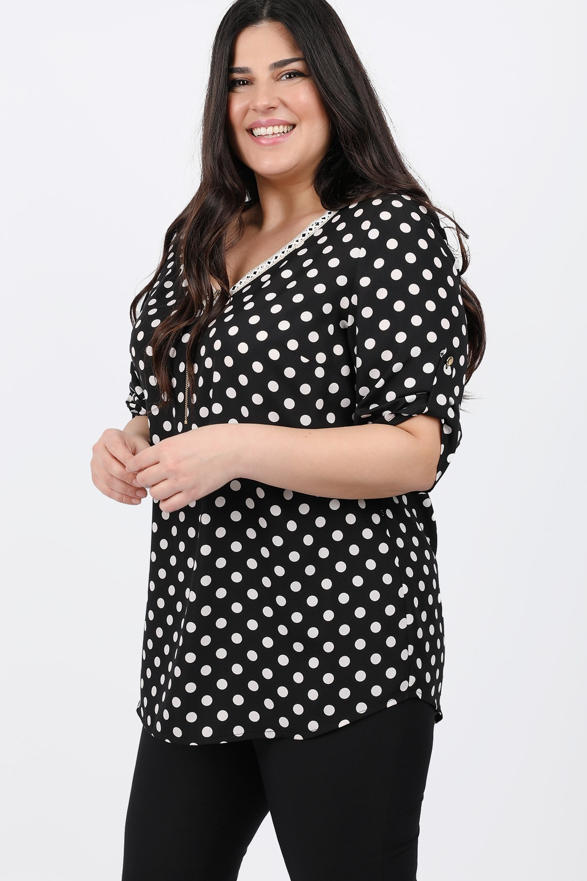 Dots shirtblouse with zipper on the V