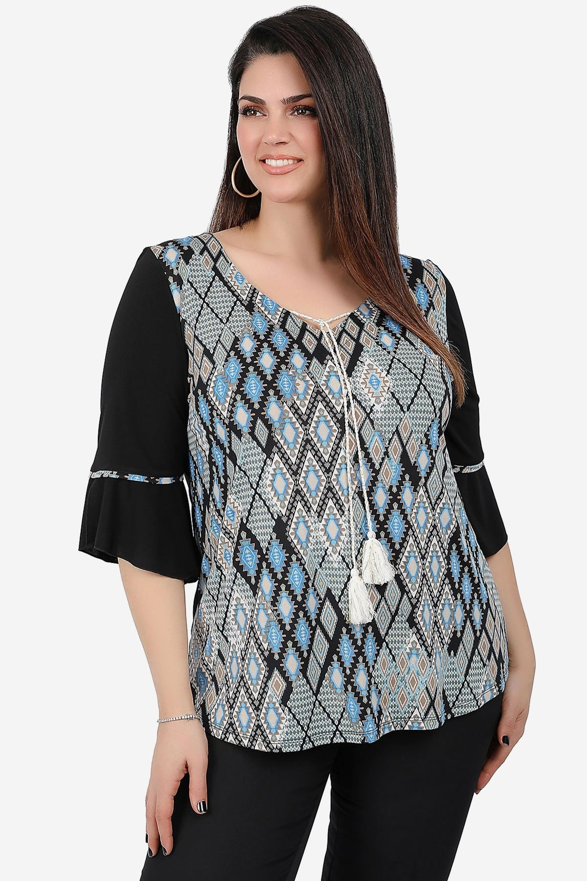 Blouse with print at the front view from jersey