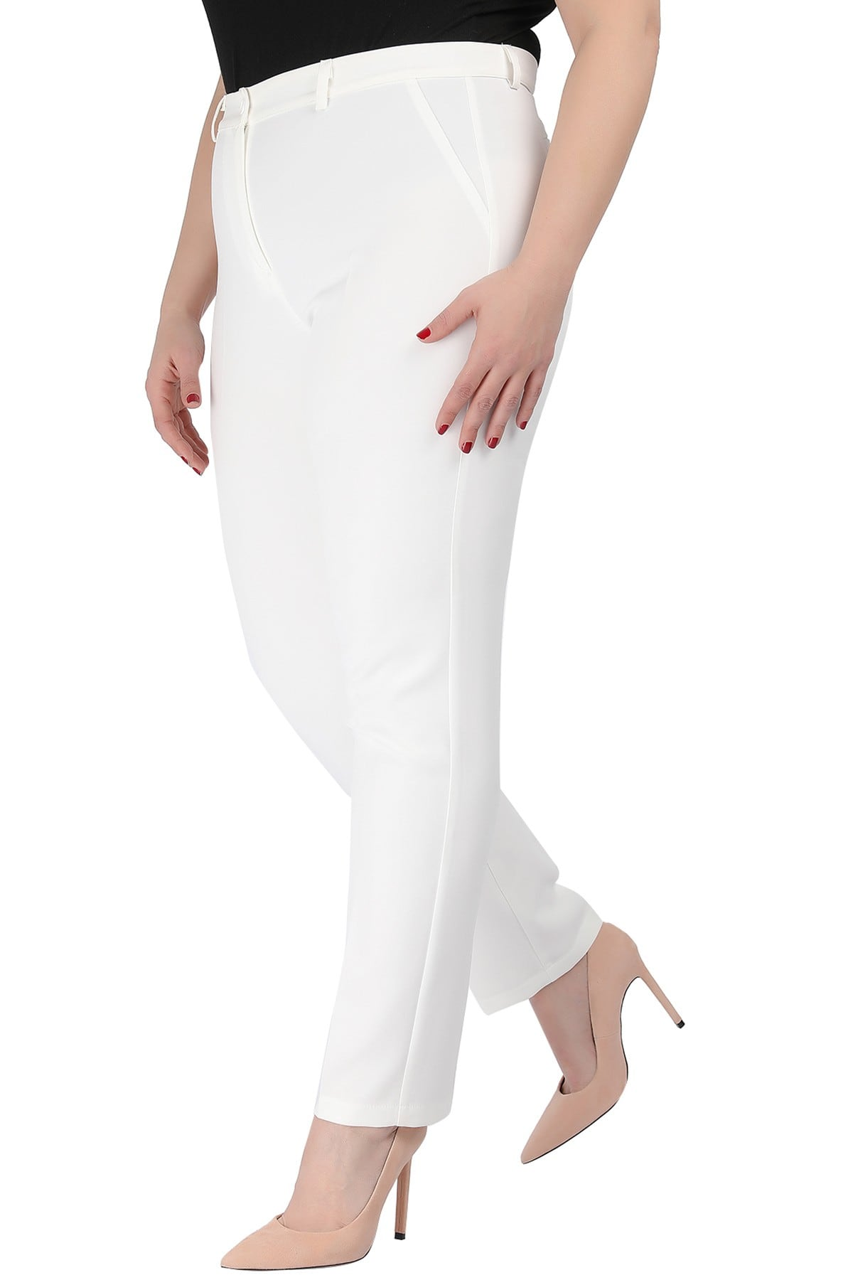 Crepe straight leg trousers