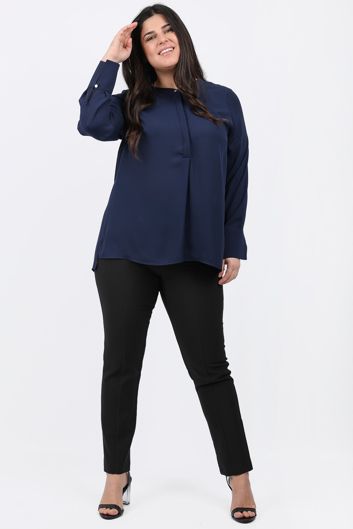 Shirtblouse with mao neck