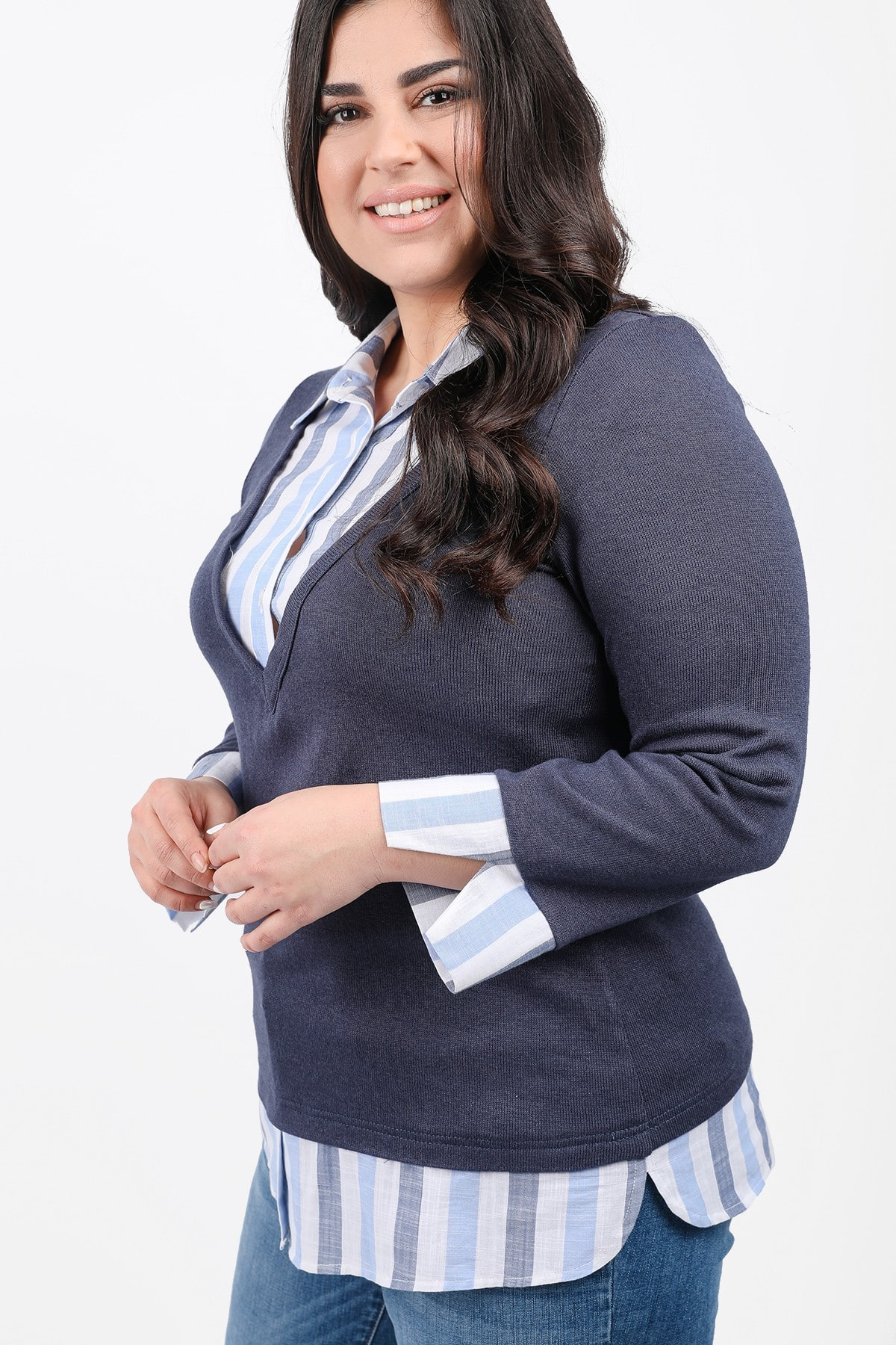 Blouse with striped shirt