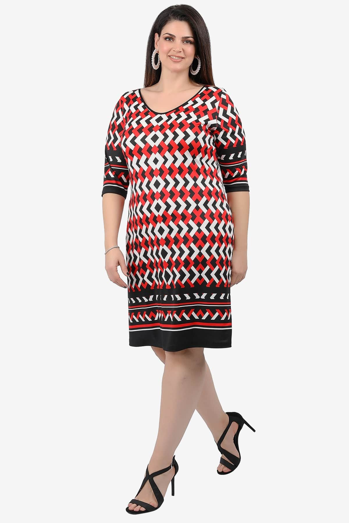 Midi dress in geometric print