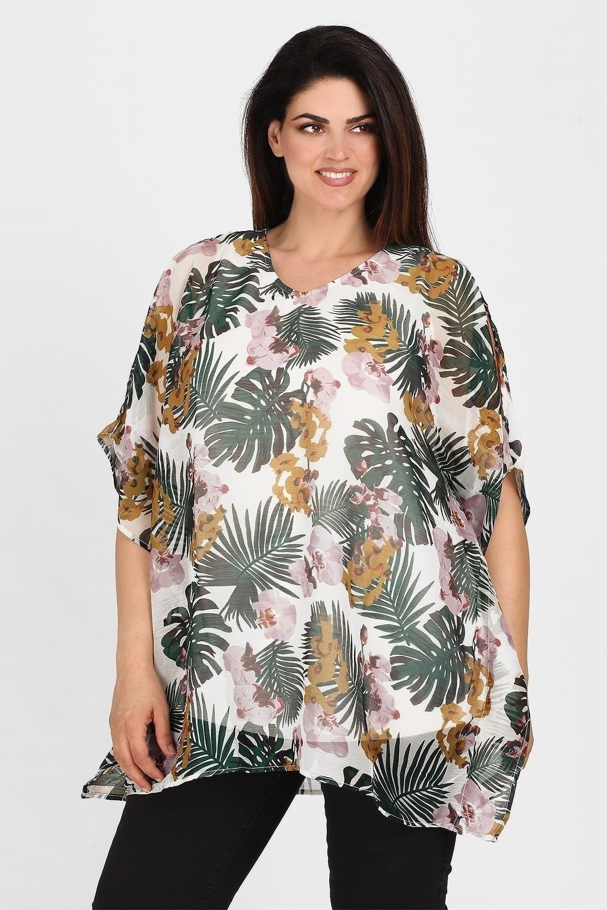 Tunic in tropical pattern with lurex details