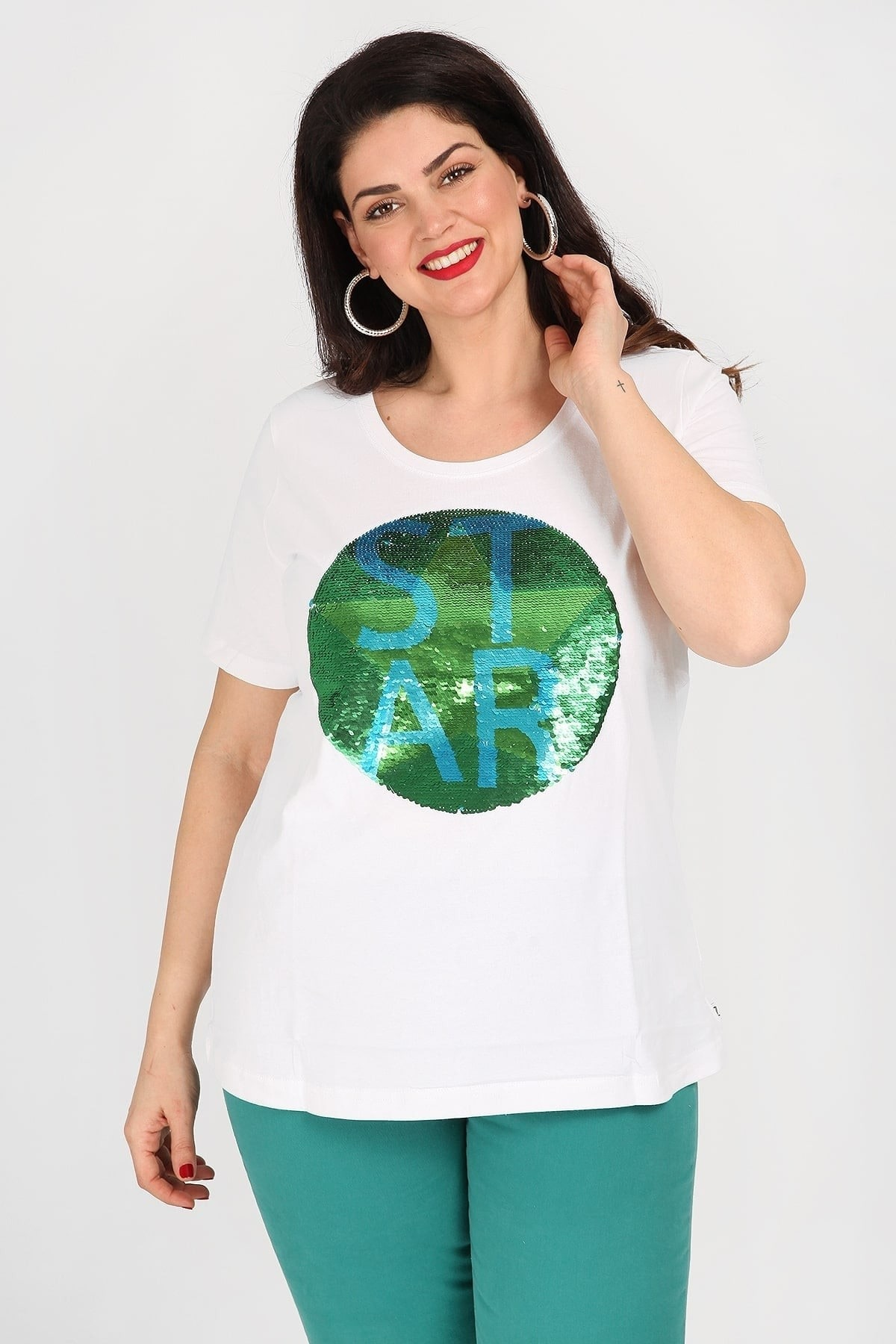 Cotton T-shirt with double-faced sequins logo