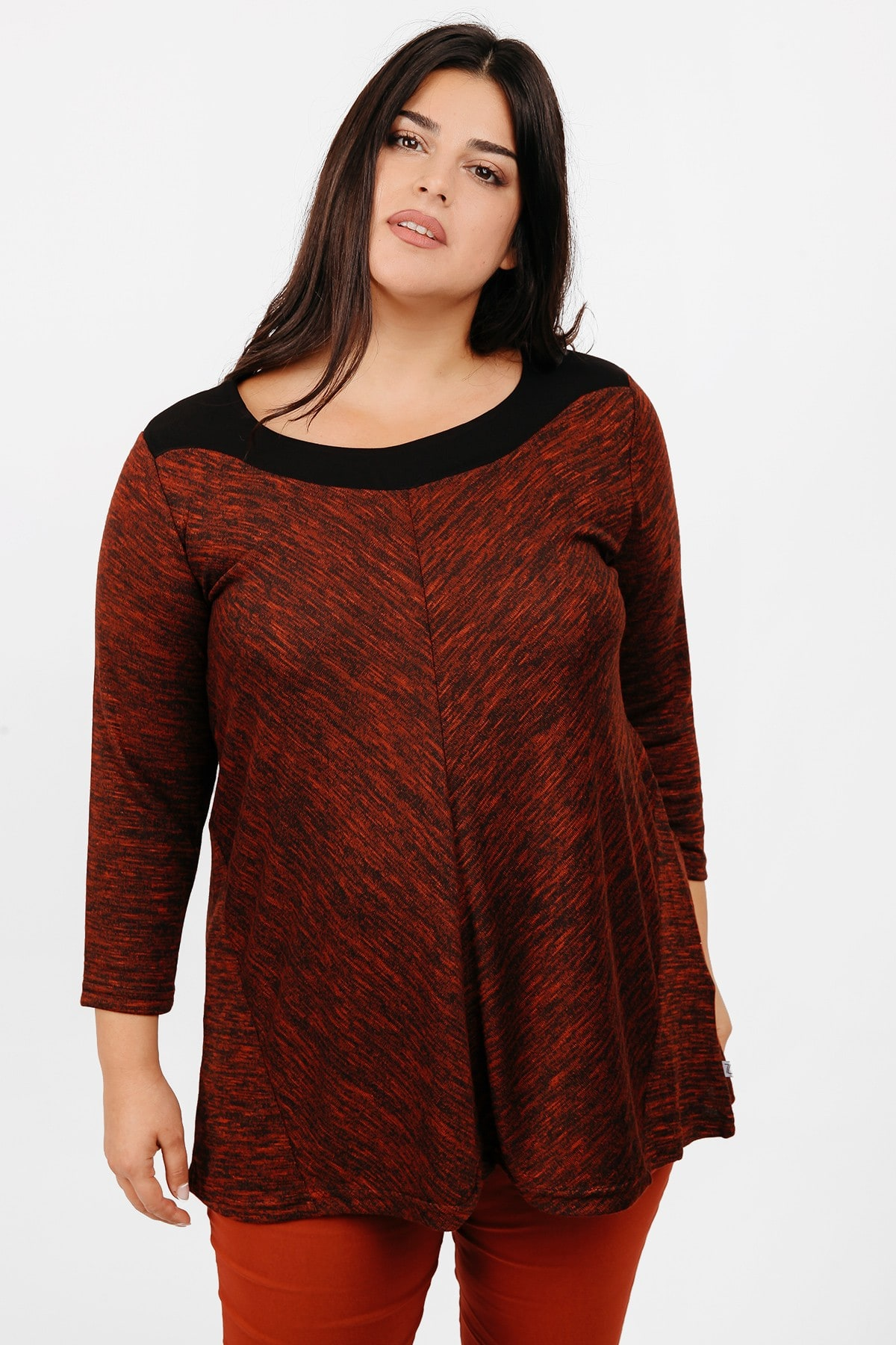 Melange blouse and 3/4 sleeves