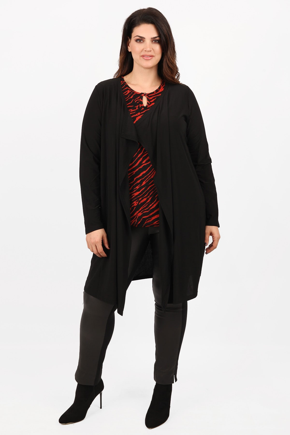 Longline cardigan with draped lapel