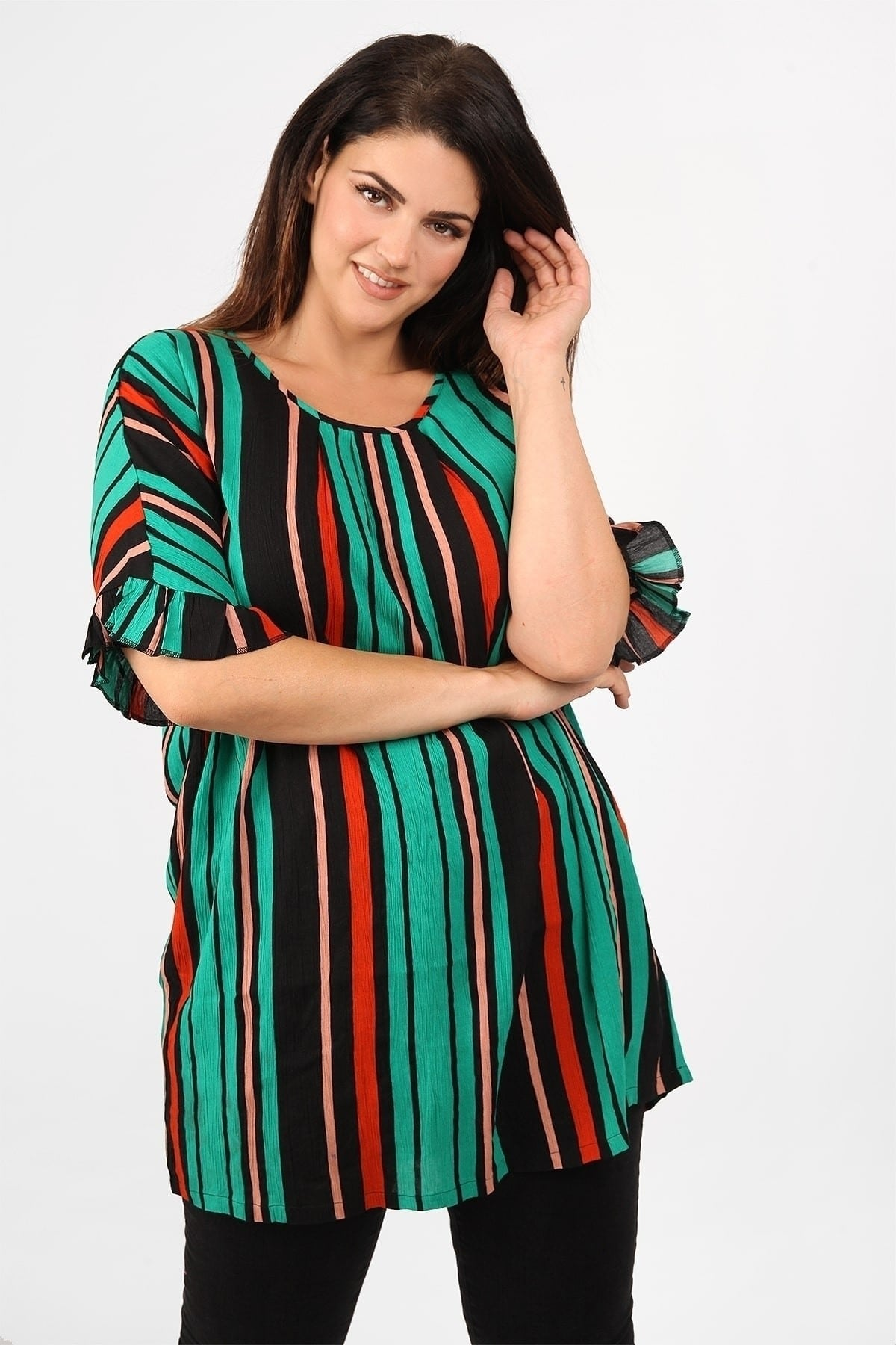 Shirtblouse in colourful stripe pattern