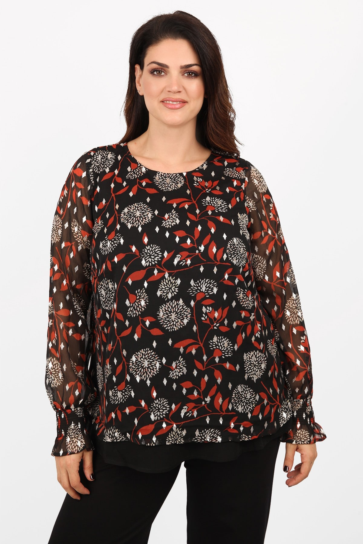 Printed blouse from crepe chiffon