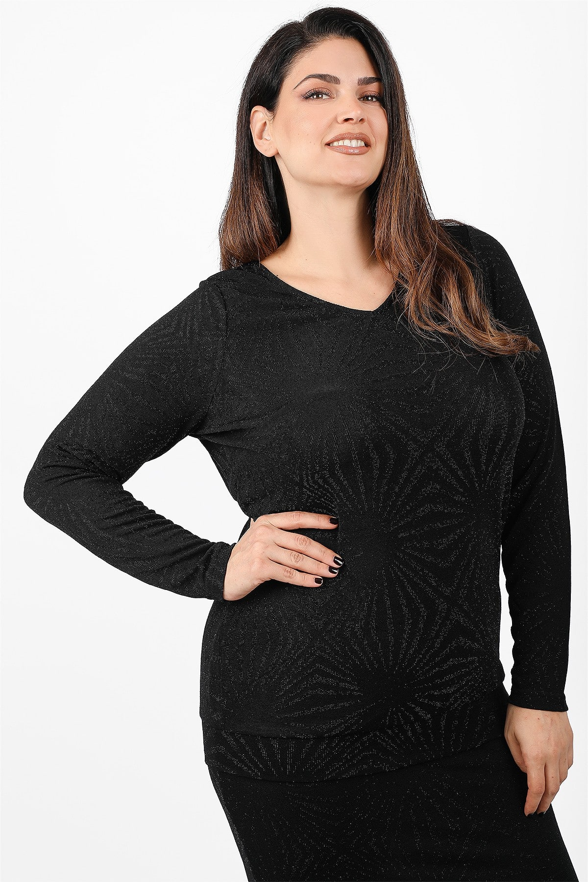 Jaquard blouse with lurex and elastic hem