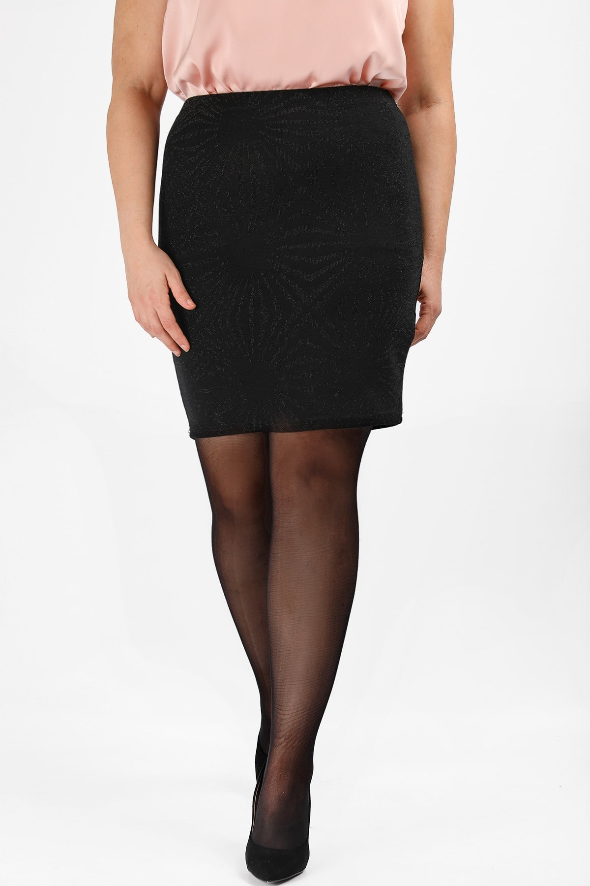 Jaquard mini skirt with lurex